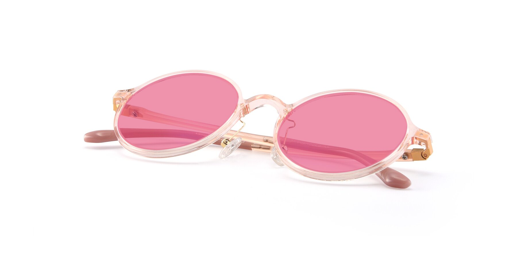 View of Lemon in Transparent Pink with Pink Tinted Lenses