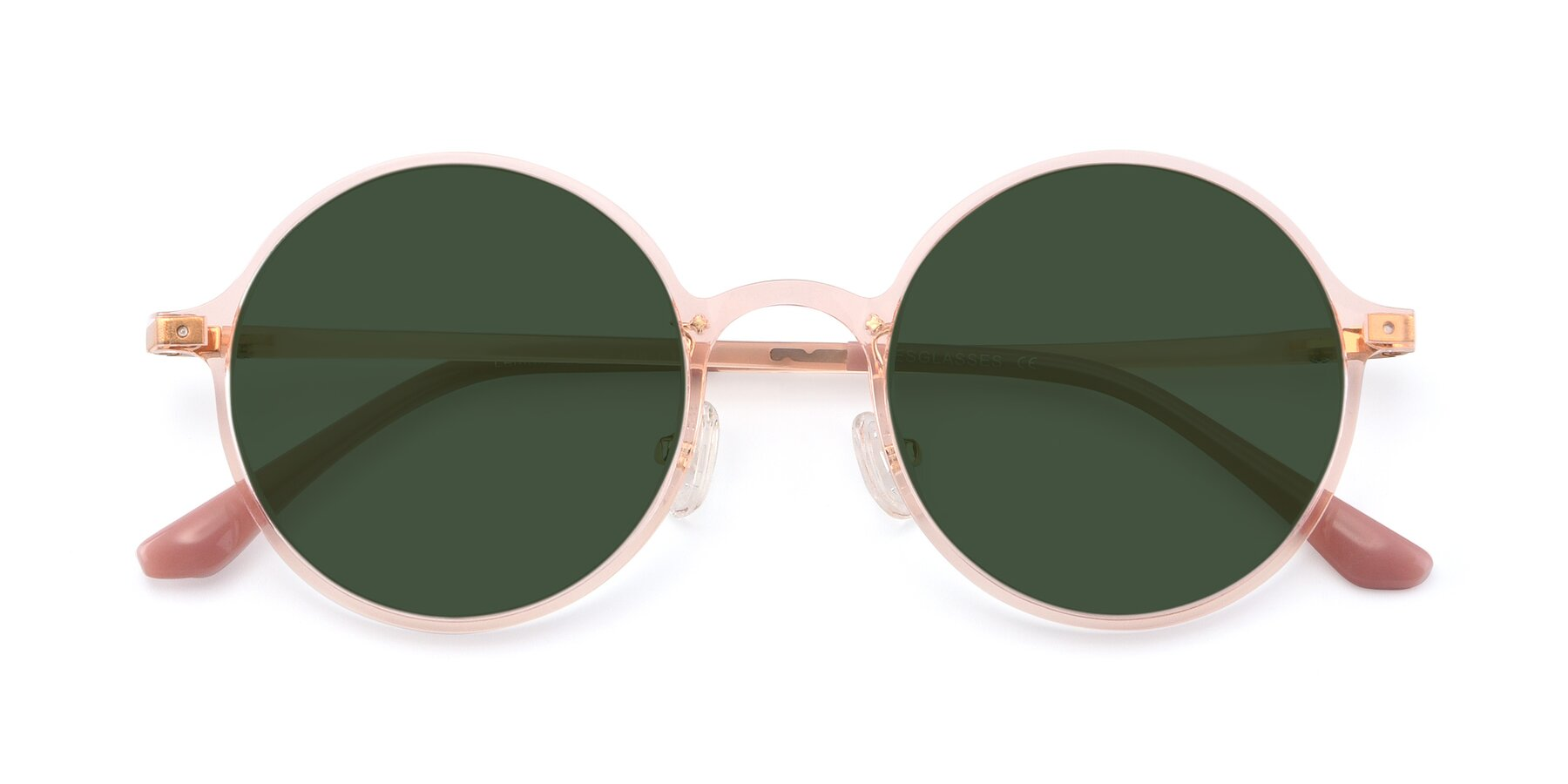 Folded Front of Lemon in Transparent Pink with Green Tinted Lenses