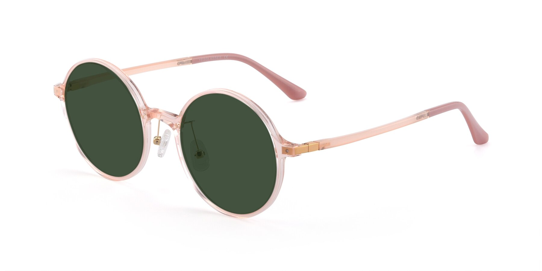 Angle of Lemon in Transparent Pink with Green Tinted Lenses