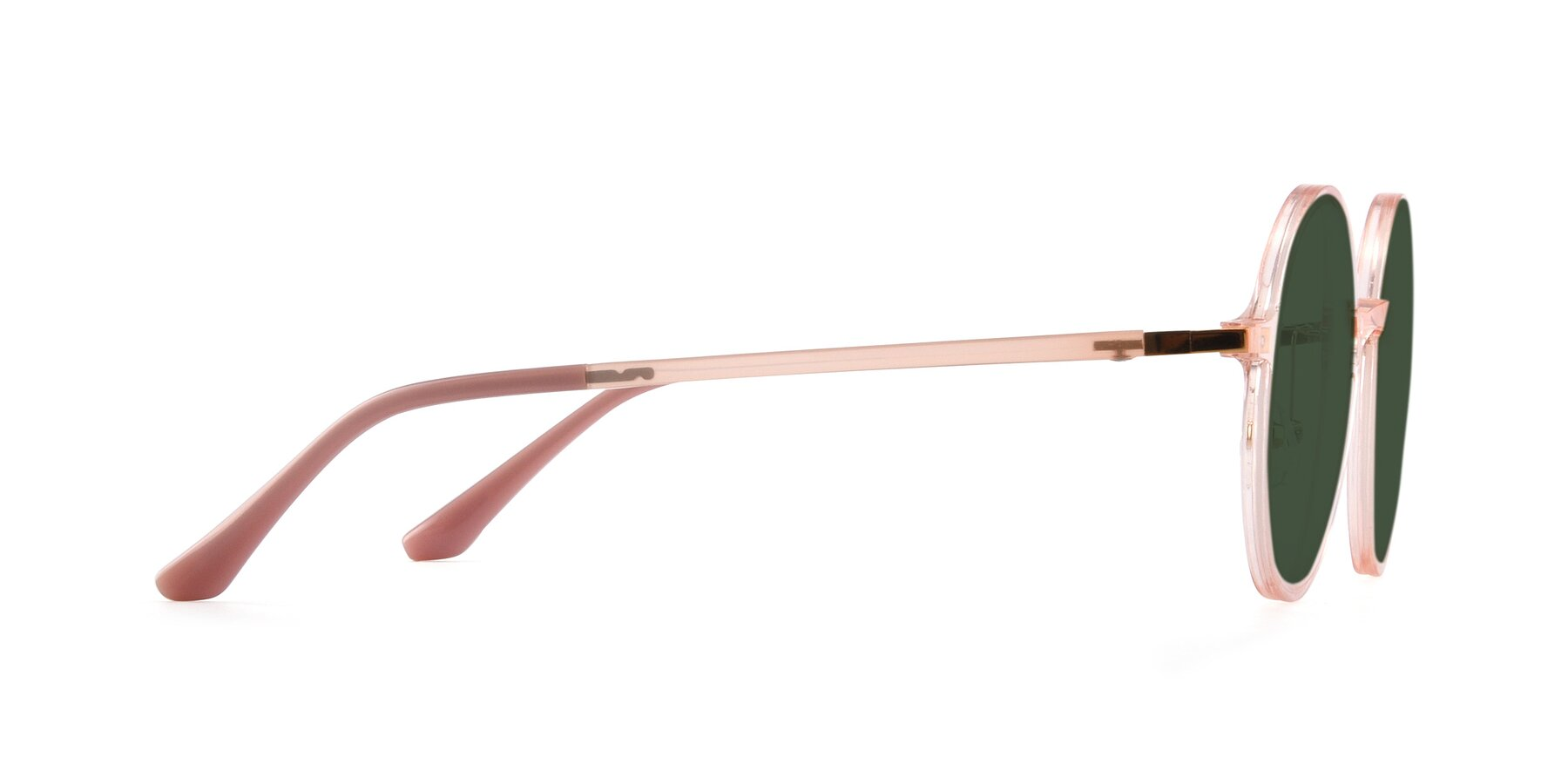 Side of Lemon in Transparent Pink with Green Tinted Lenses