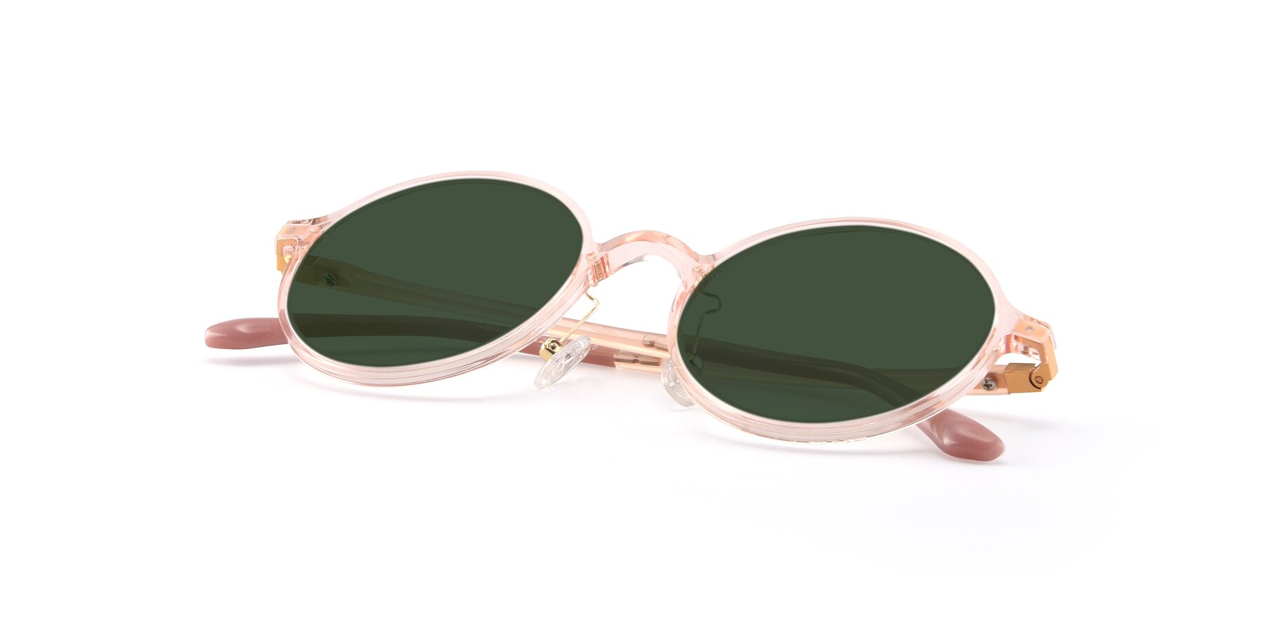 View of Lemon in Transparent Pink with Green Tinted Lenses