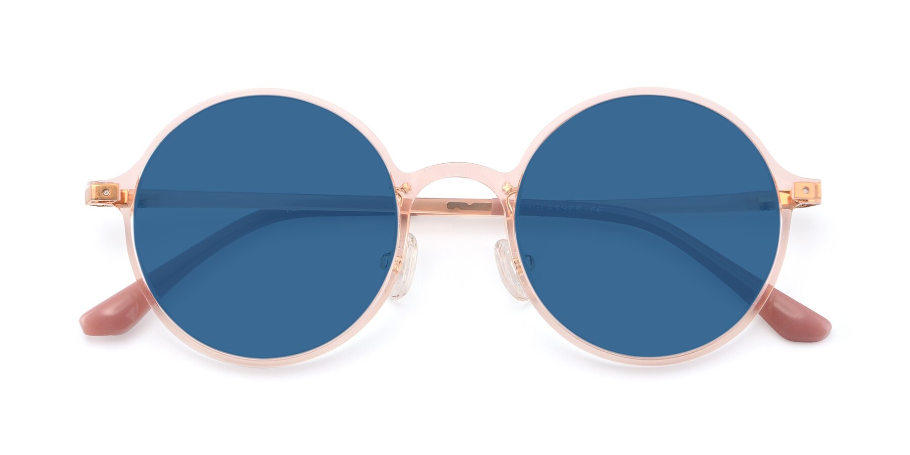 Folded Front of Lemon in Transparent Pink with Blue Tinted Lenses