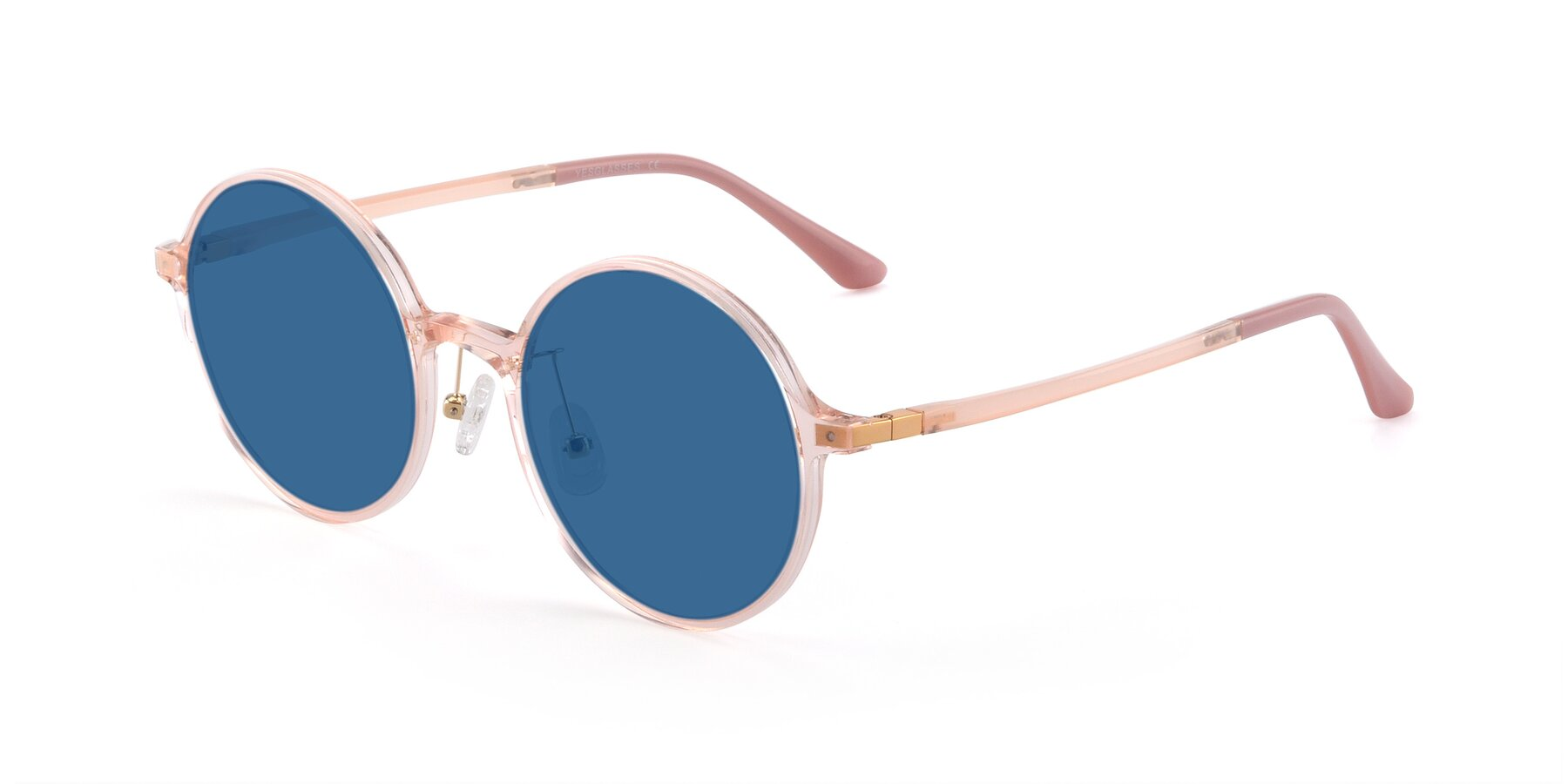 Angle of Lemon in Transparent Pink with Blue Tinted Lenses