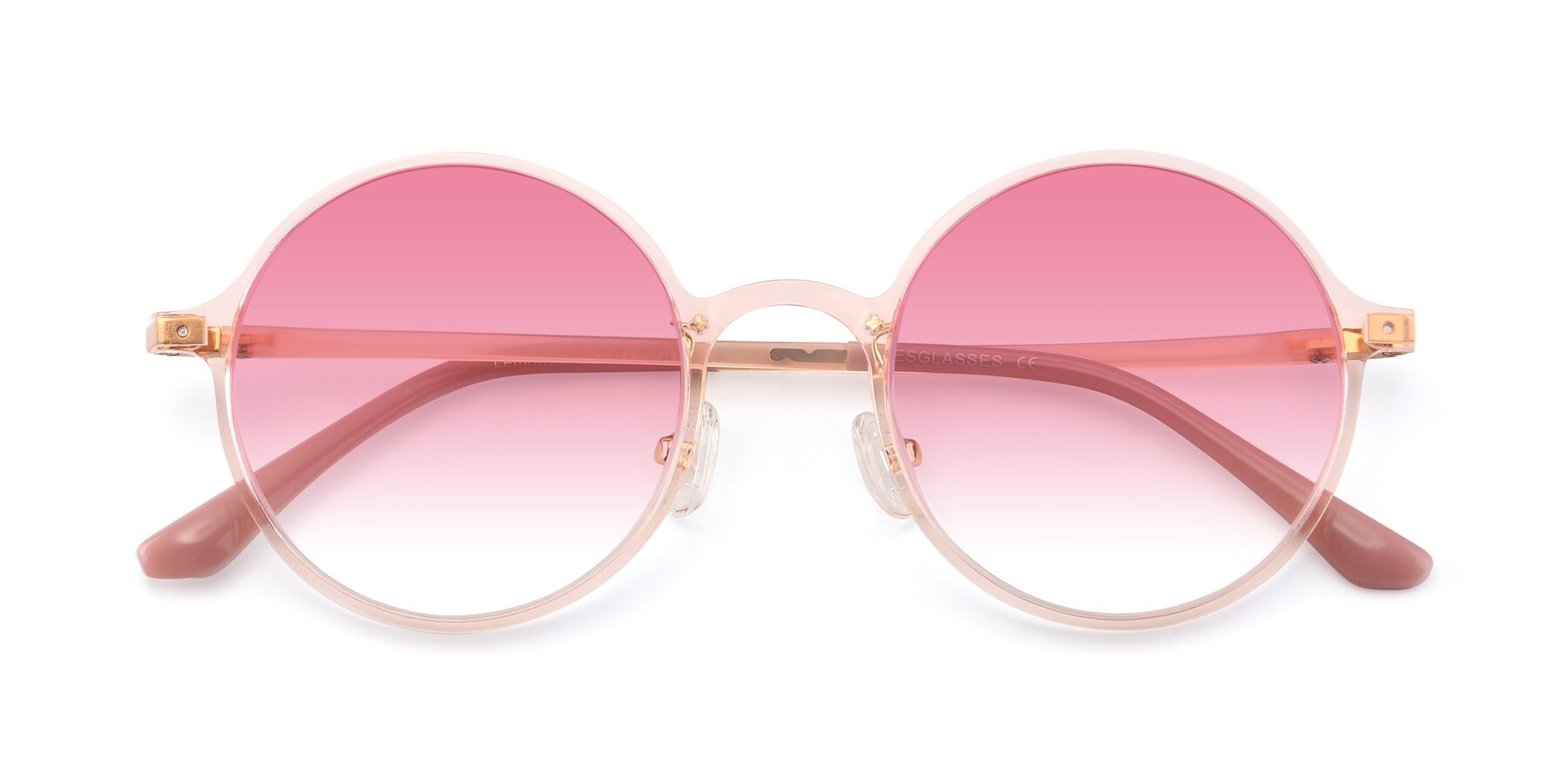 Folded Front of Lemon in Transparent Pink with Pink Gradient Lenses