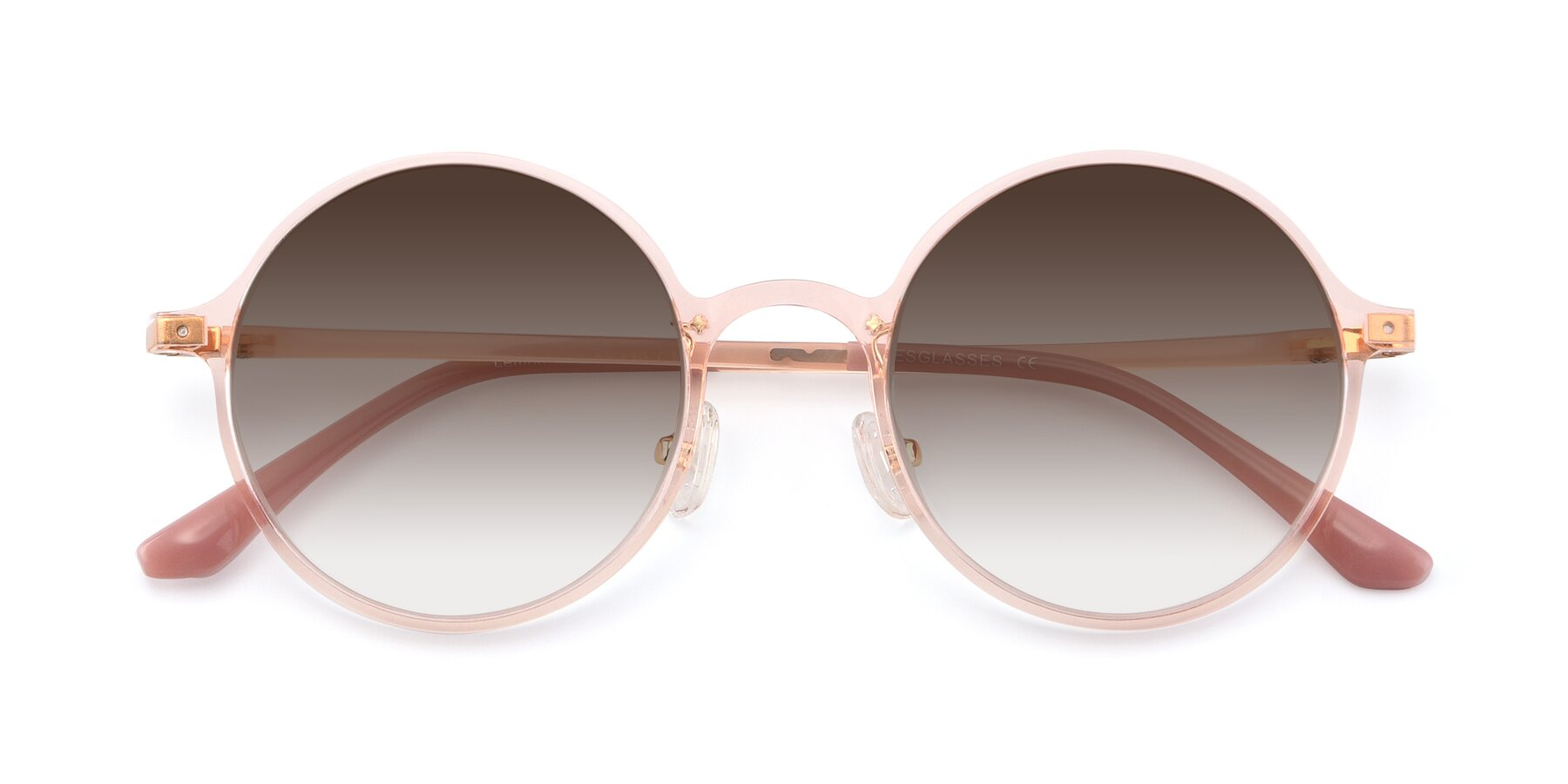 Folded Front of Lemon in Transparent Pink with Brown Gradient Lenses