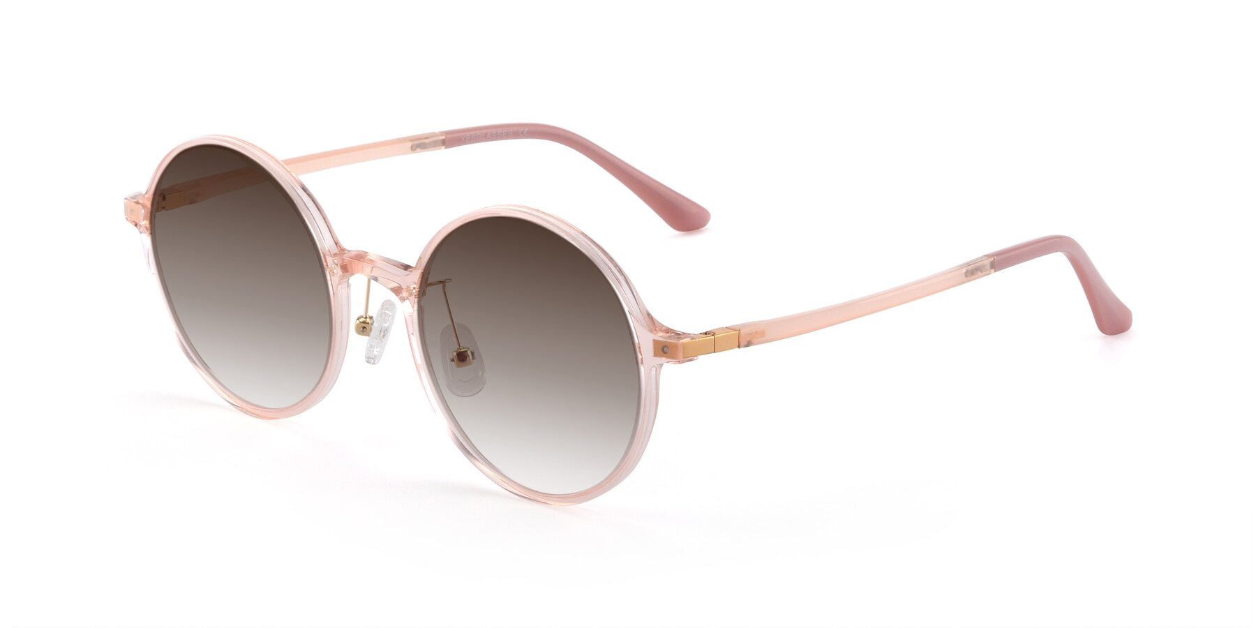 Angle of Lemon in Transparent Pink with Brown Gradient Lenses