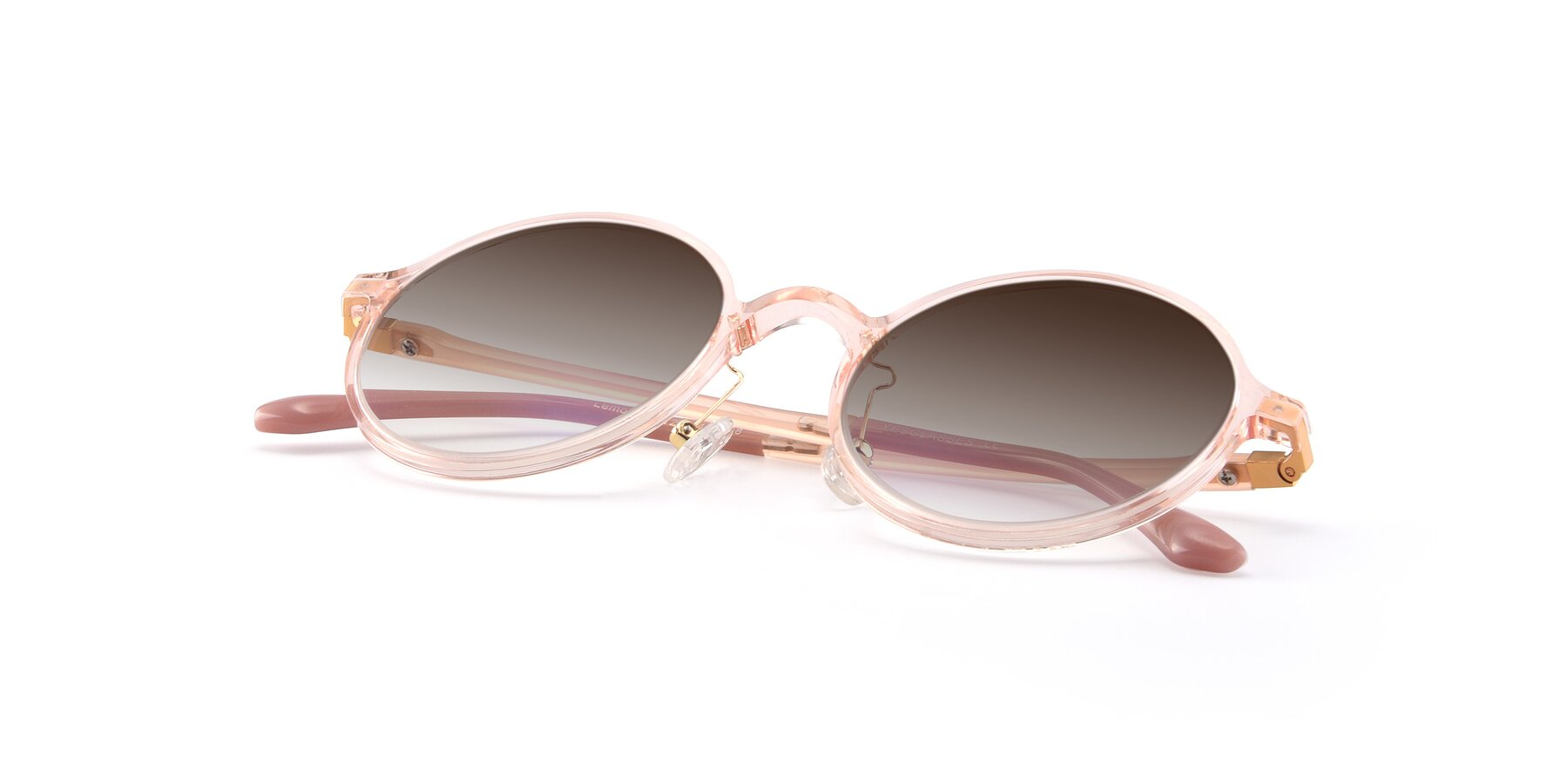 View of Lemon in Transparent Pink with Brown Gradient Lenses
