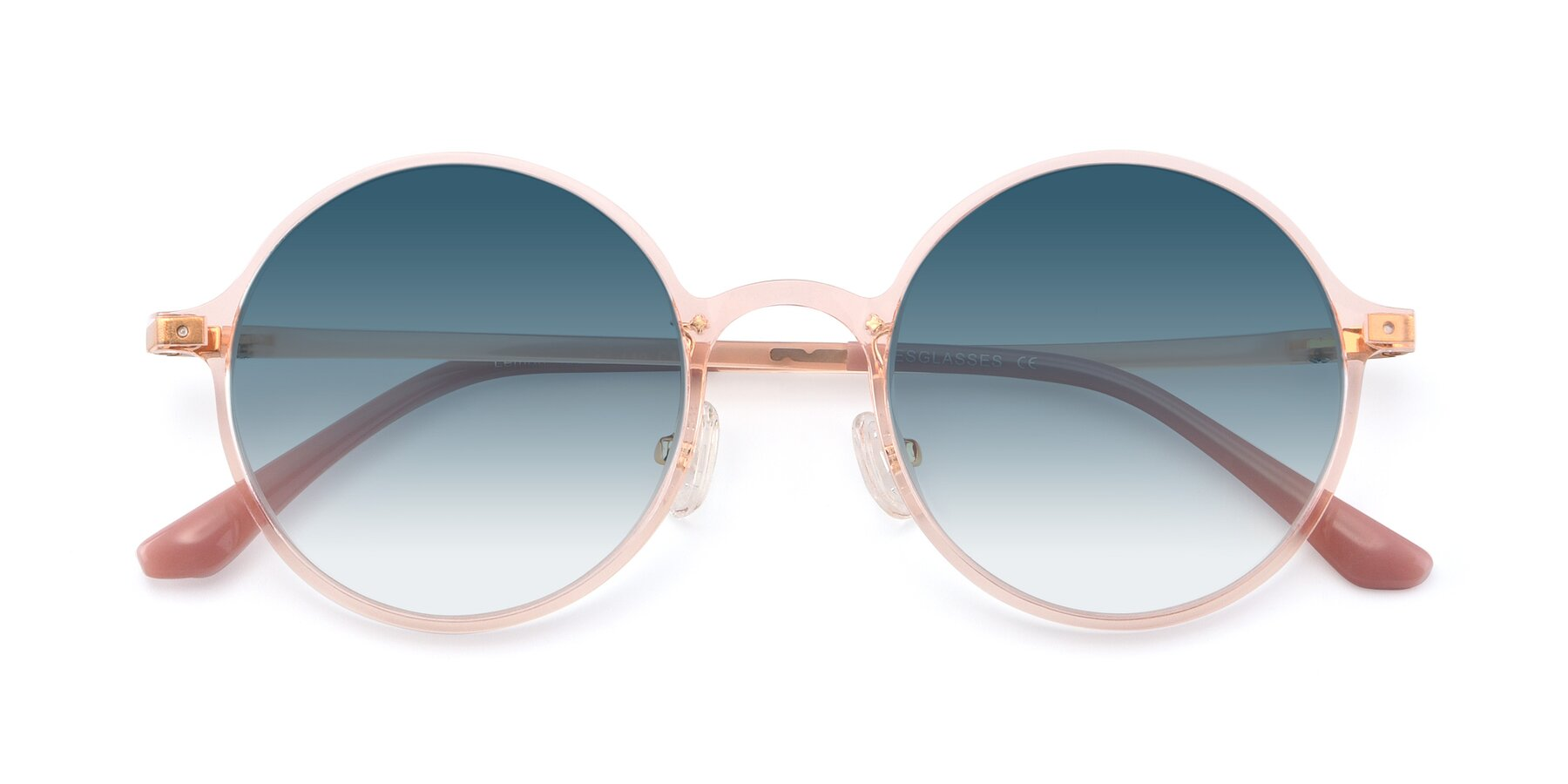 Folded Front of Lemon in Transparent Pink with Blue Gradient Lenses