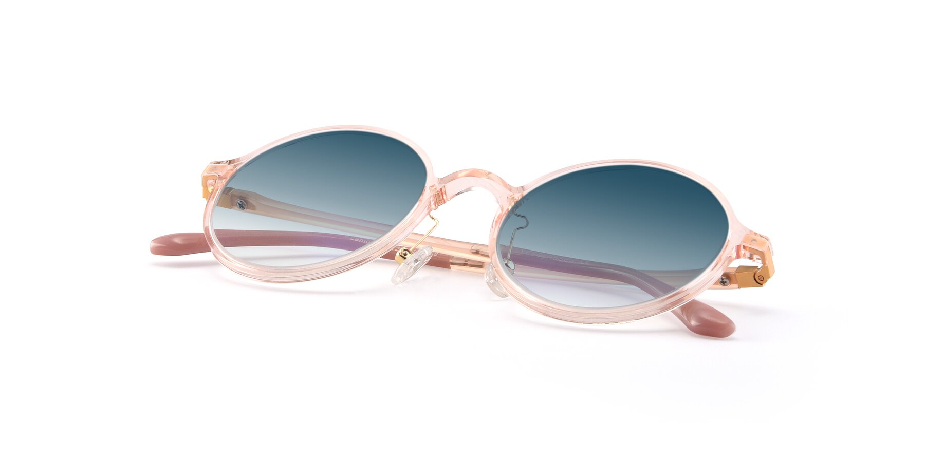 View of Lemon in Transparent Pink with Blue Gradient Lenses