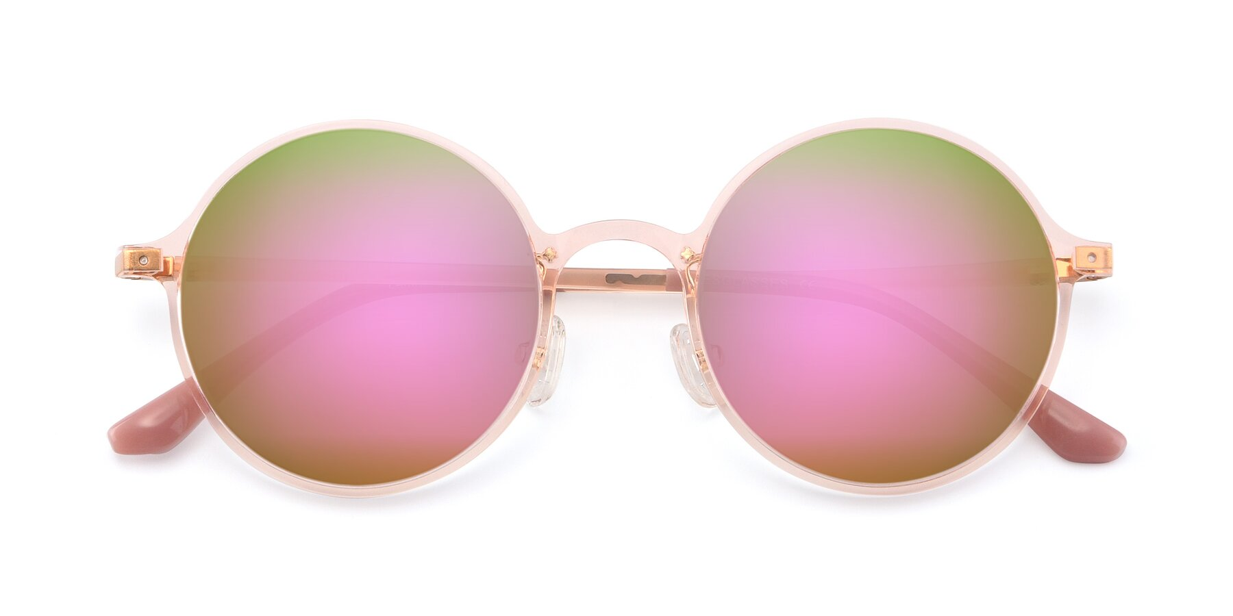 Folded Front of Lemon in Transparent Pink with Pink Mirrored Lenses