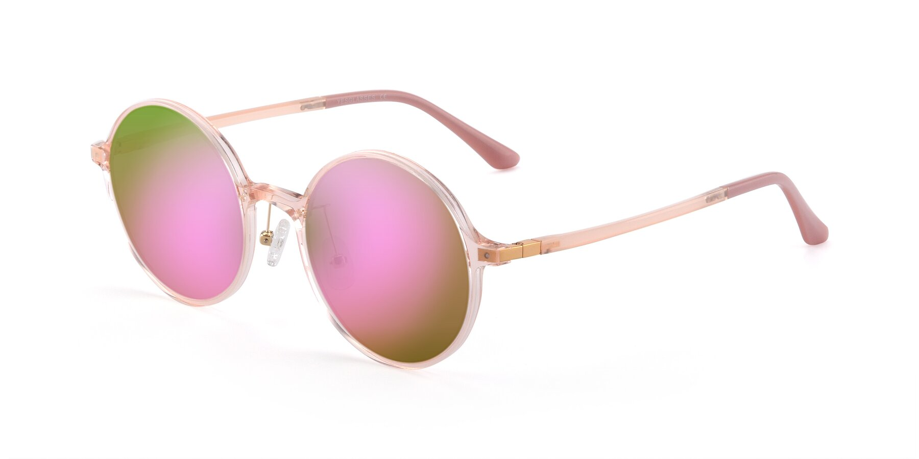 Angle of Lemon in Transparent Pink with Pink Mirrored Lenses