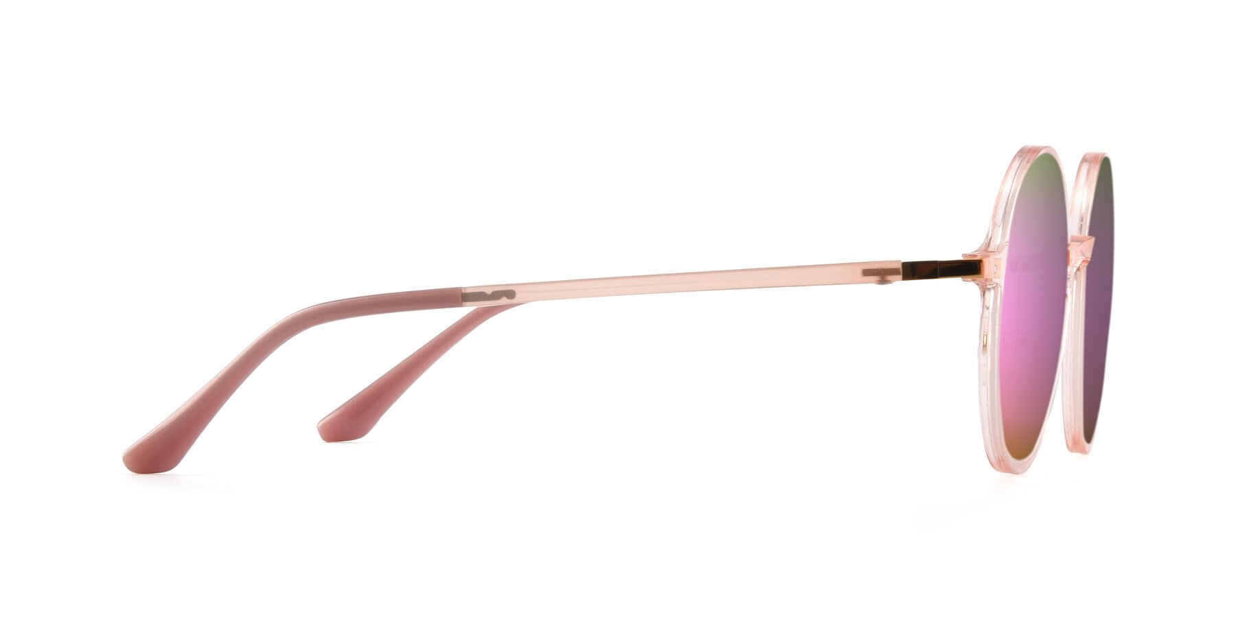 Side of Lemon in Transparent Pink with Pink Mirrored Lenses
