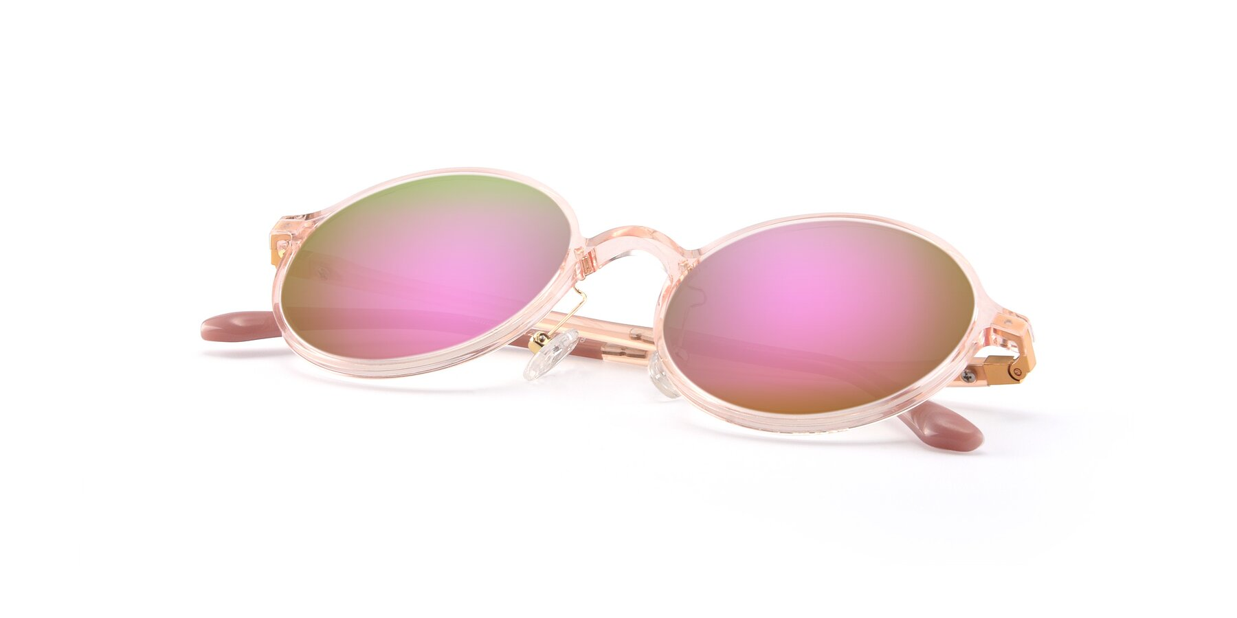 View of Lemon in Transparent Pink with Pink Mirrored Lenses