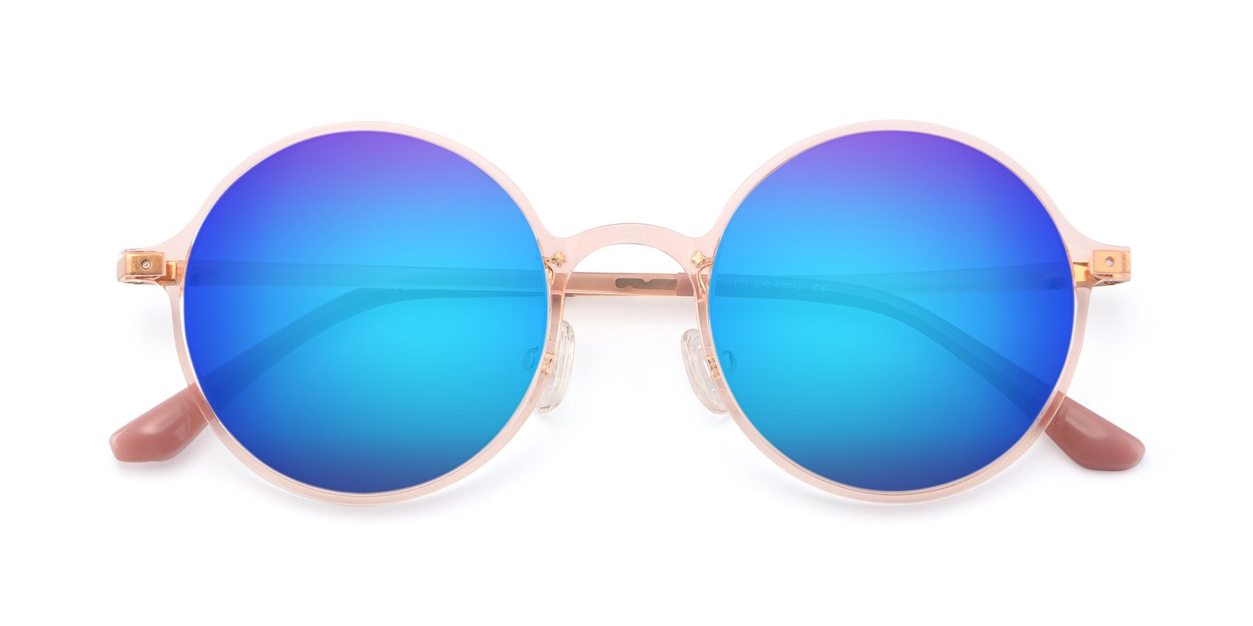 Folded Front of Lemon in Transparent Pink with Blue Mirrored Lenses