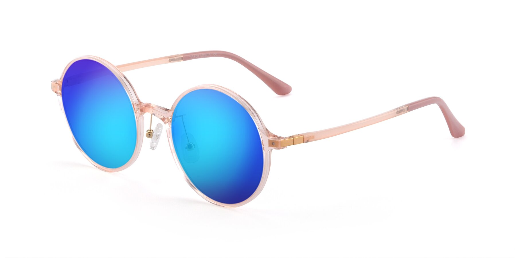 Angle of Lemon in Transparent Pink with Blue Mirrored Lenses