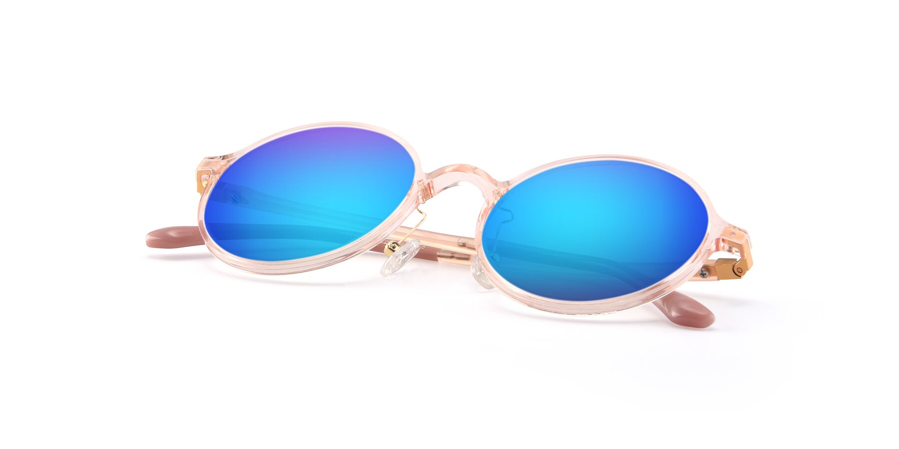 View of Lemon in Transparent Pink with Blue Mirrored Lenses