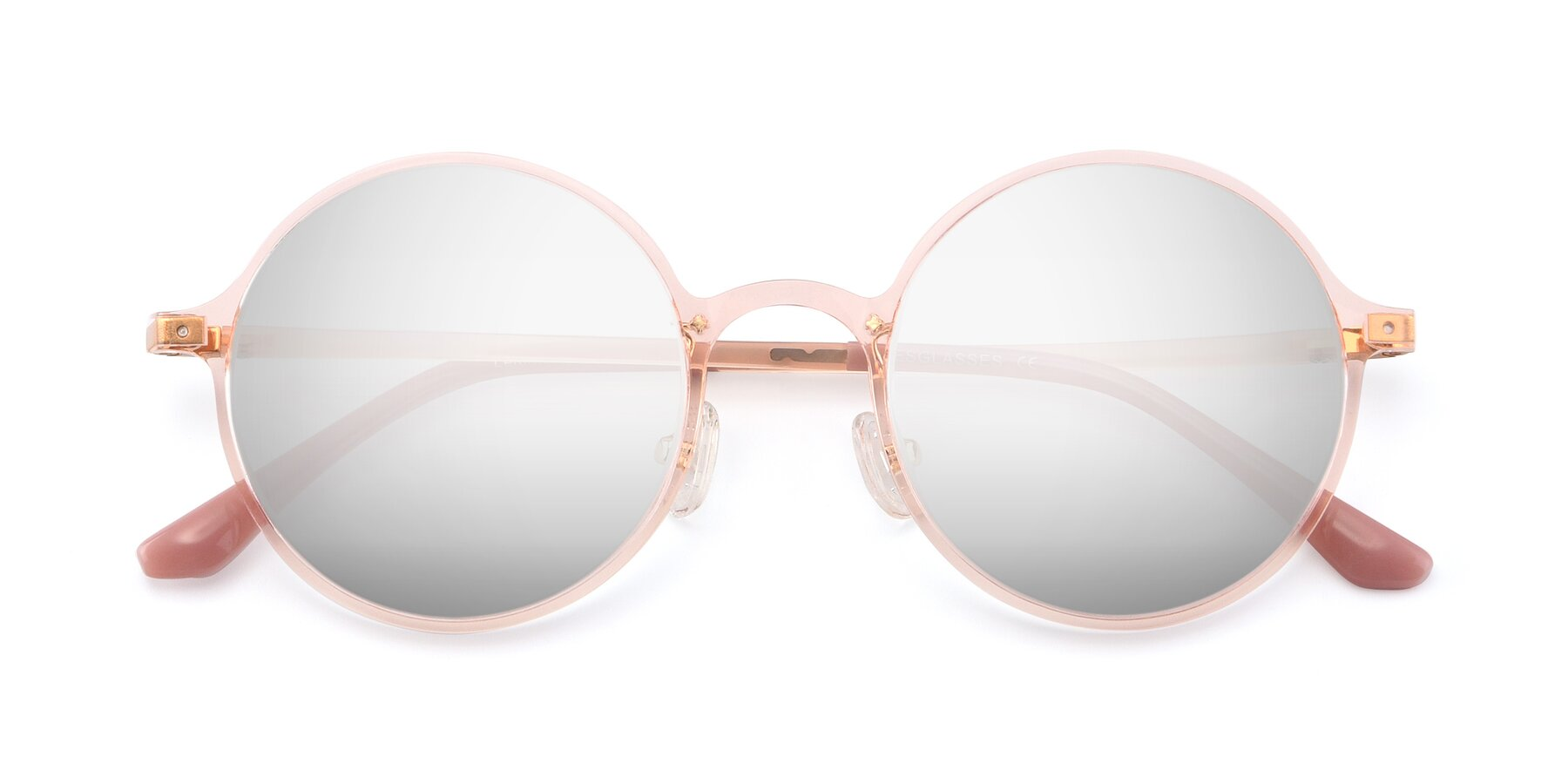 Folded Front of Lemon in Transparent Pink with Silver Mirrored Lenses