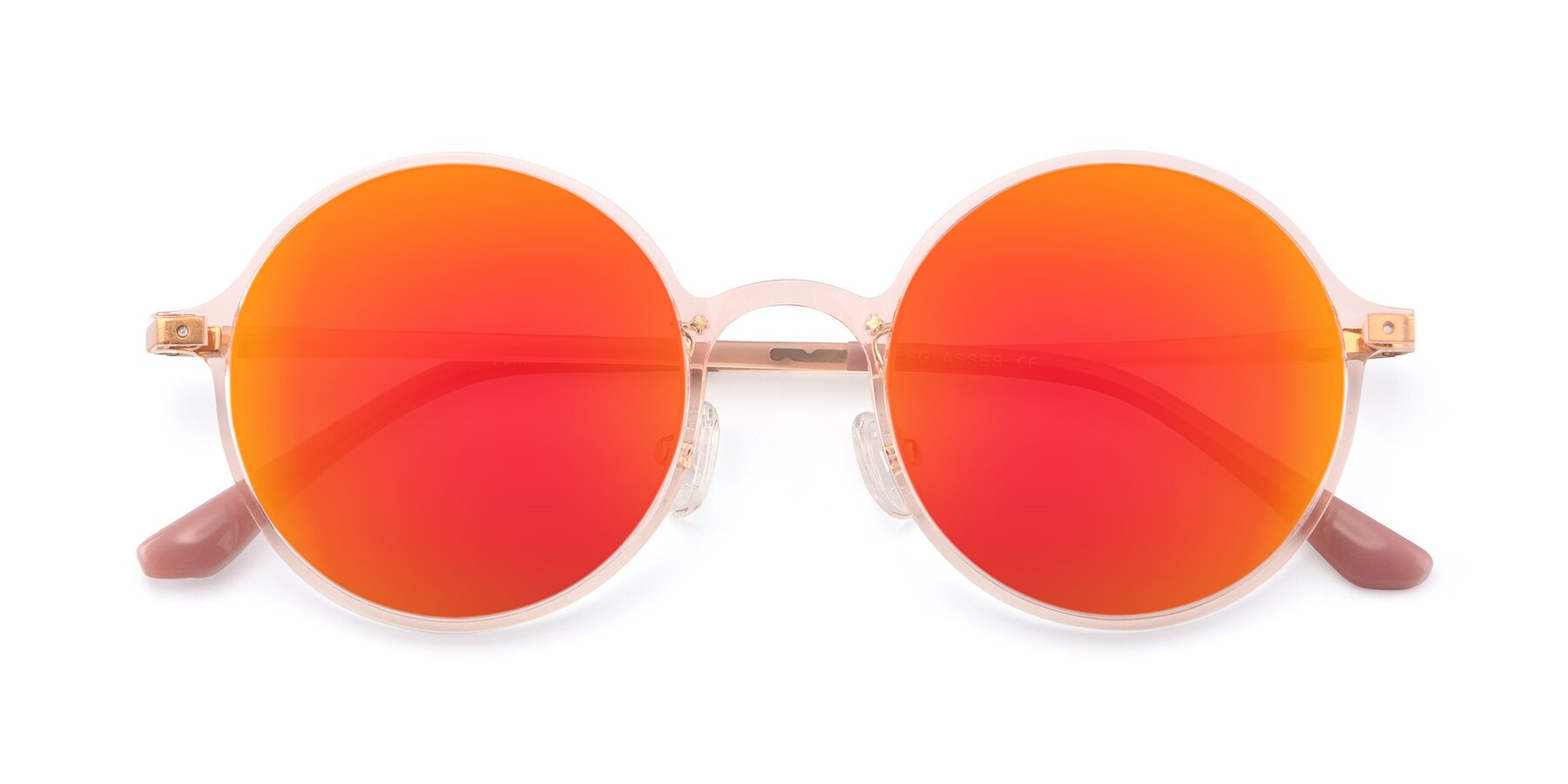 Folded Front of Lemon in Transparent Pink with Red Gold Mirrored Lenses