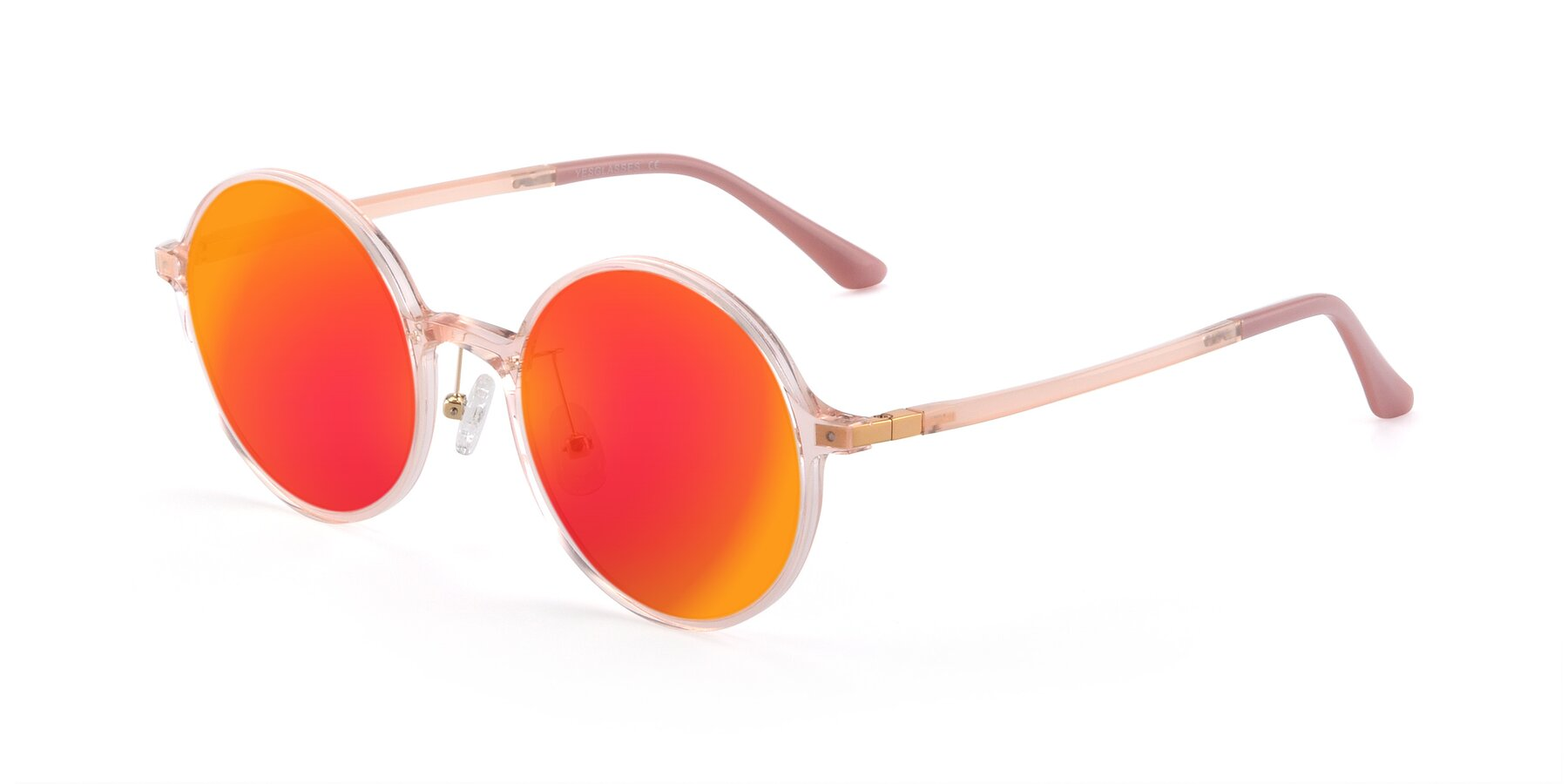 Angle of Lemon in Transparent Pink with Red Gold Mirrored Lenses