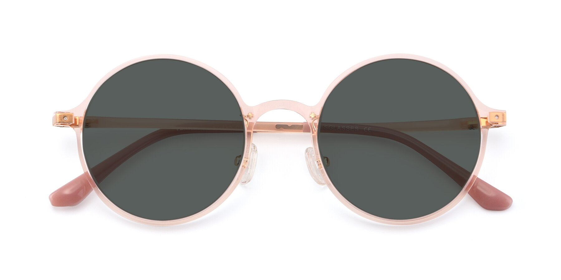 Folded Front of Lemon in Transparent Pink with Gray Polarized Lenses
