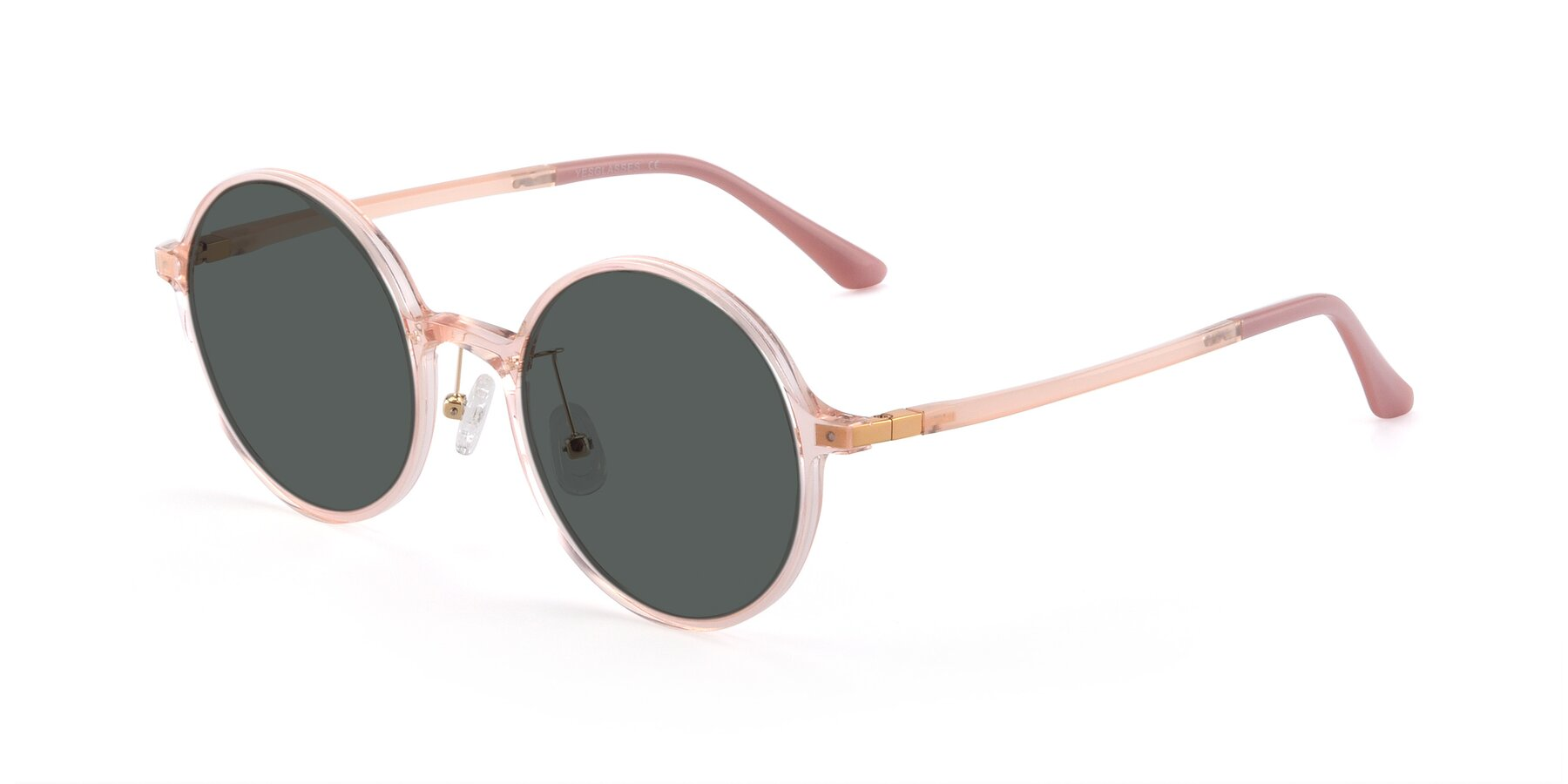 Angle of Lemon in Transparent Pink with Gray Polarized Lenses