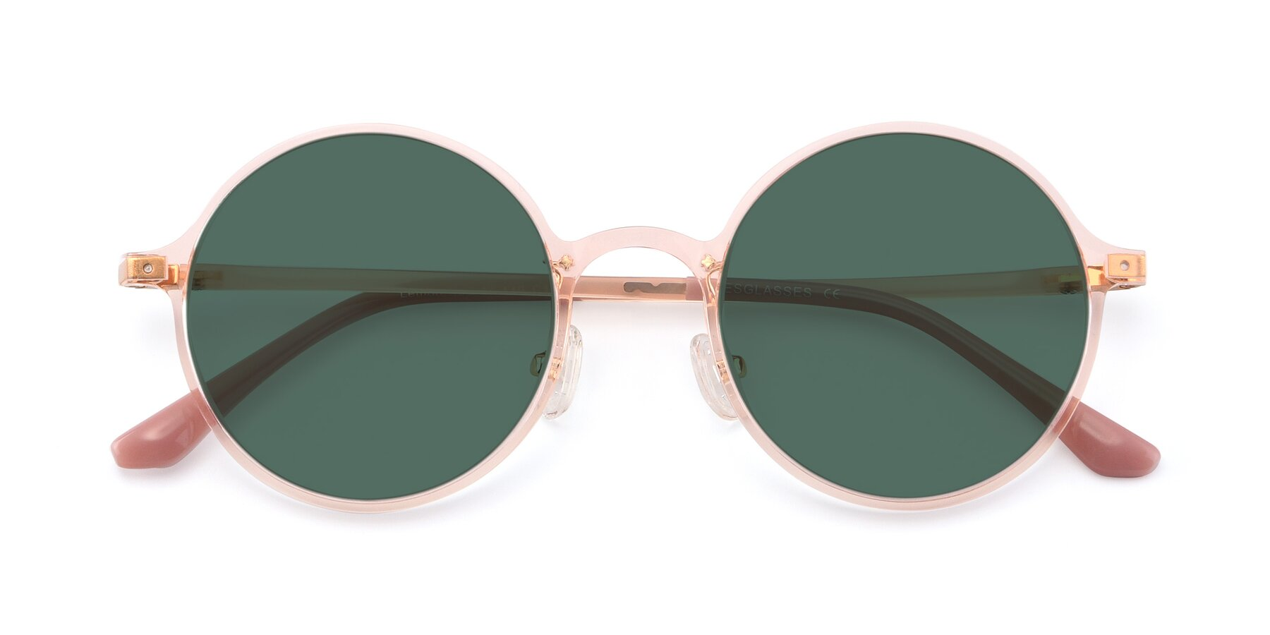 Folded Front of Lemon in Transparent Pink with Green Polarized Lenses