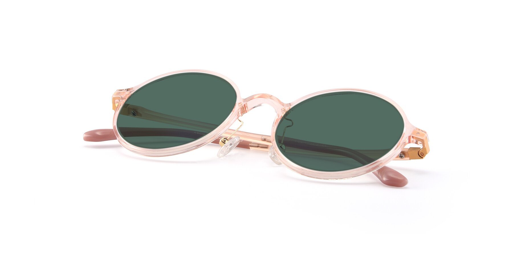 View of Lemon in Transparent Pink with Green Polarized Lenses