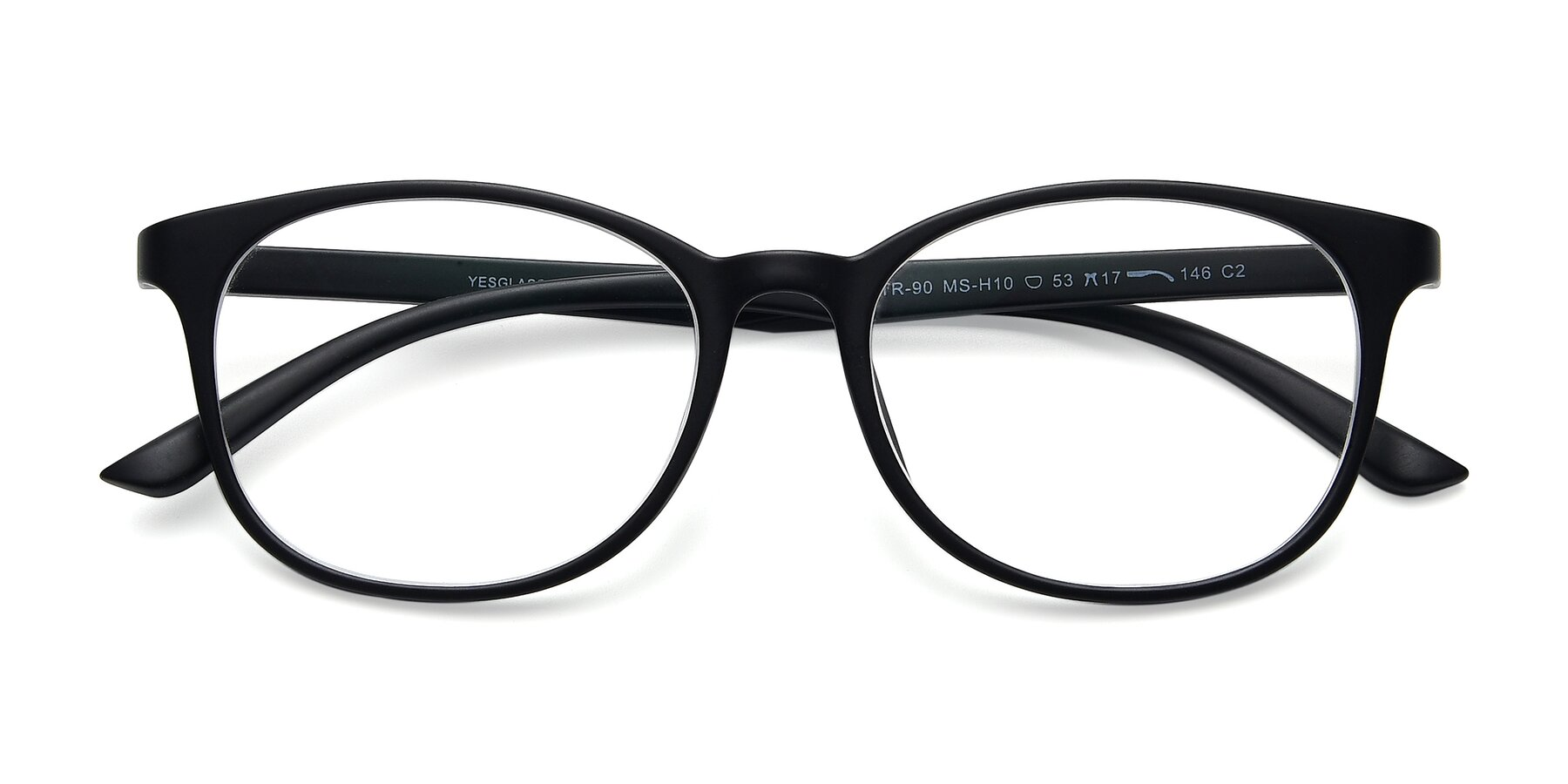 Folded Front of MS-H10 in Matt Black with Clear Eyeglass Lenses