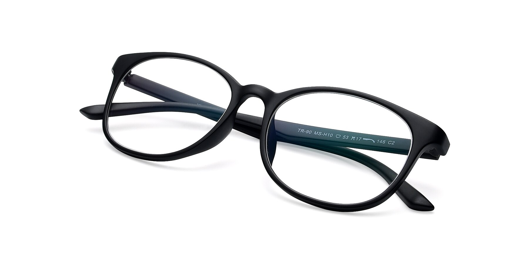View of MS-H10 in Matt Black with Clear Eyeglass Lenses
