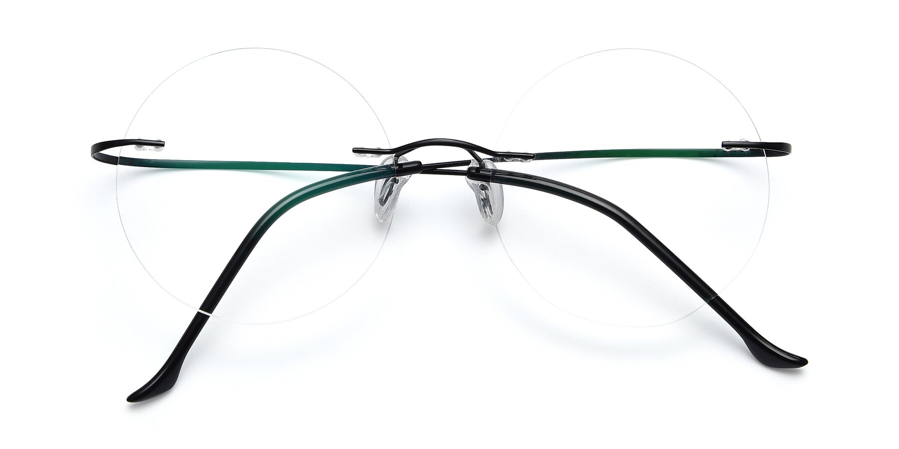 Folded Front of Artist in Black with Clear Eyeglass Lenses