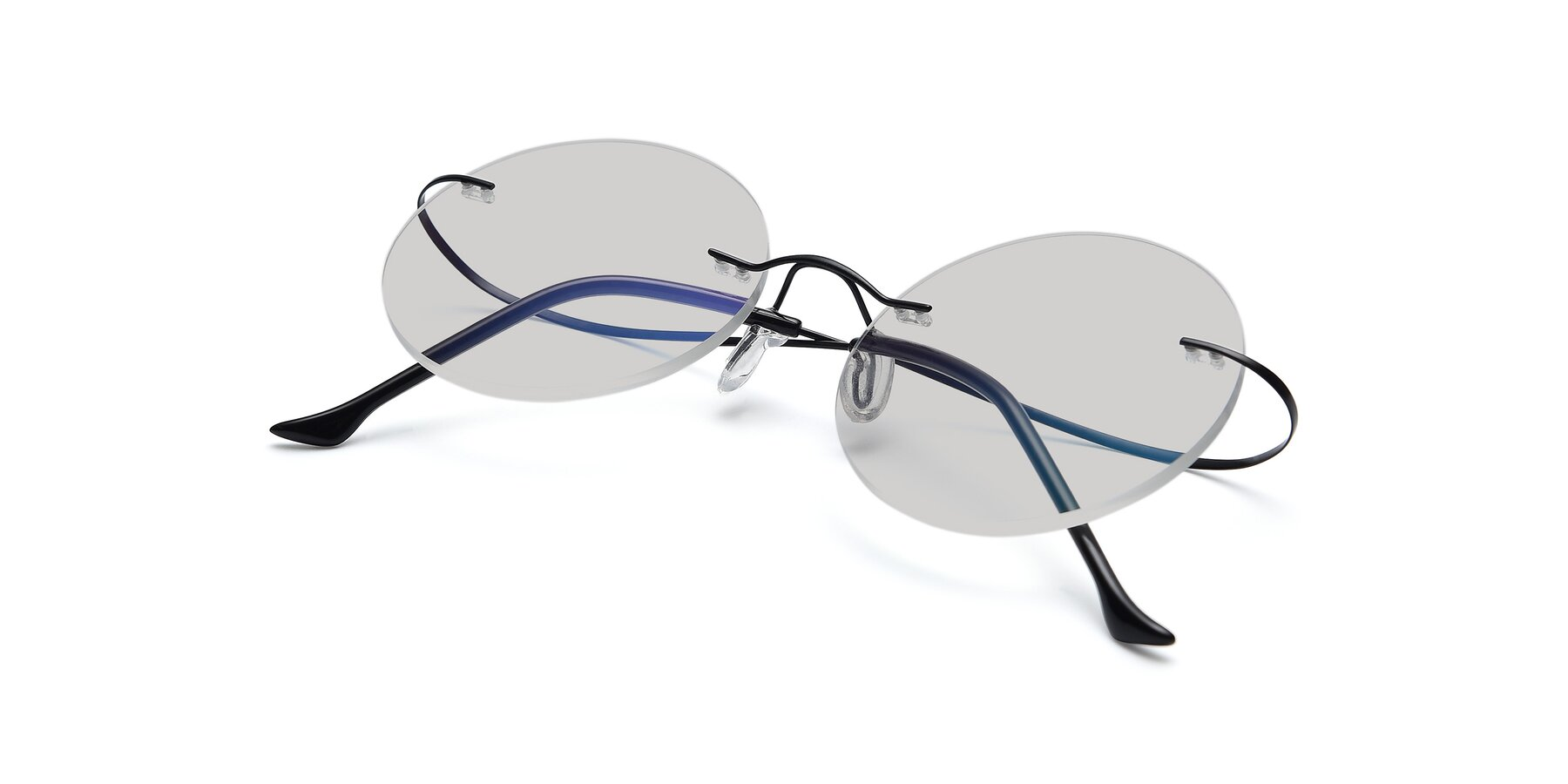 View of Artist in Black with Light Gray Tinted Lenses