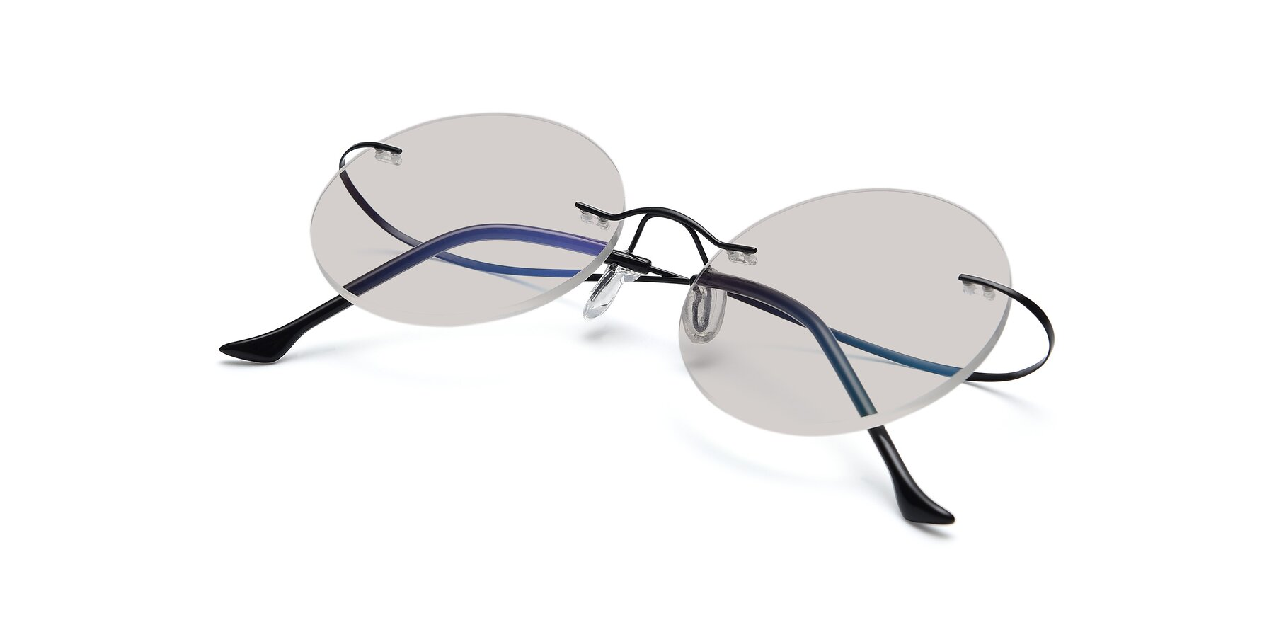 View of Artist in Black with Light Brown Tinted Lenses