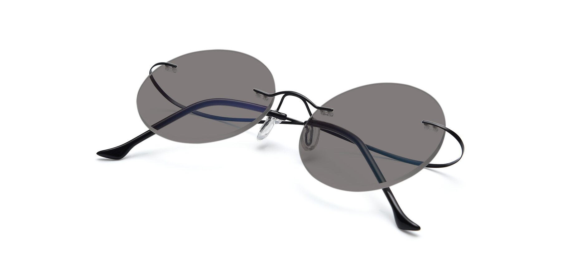 View of Artist in Black with Medium Gray Tinted Lenses