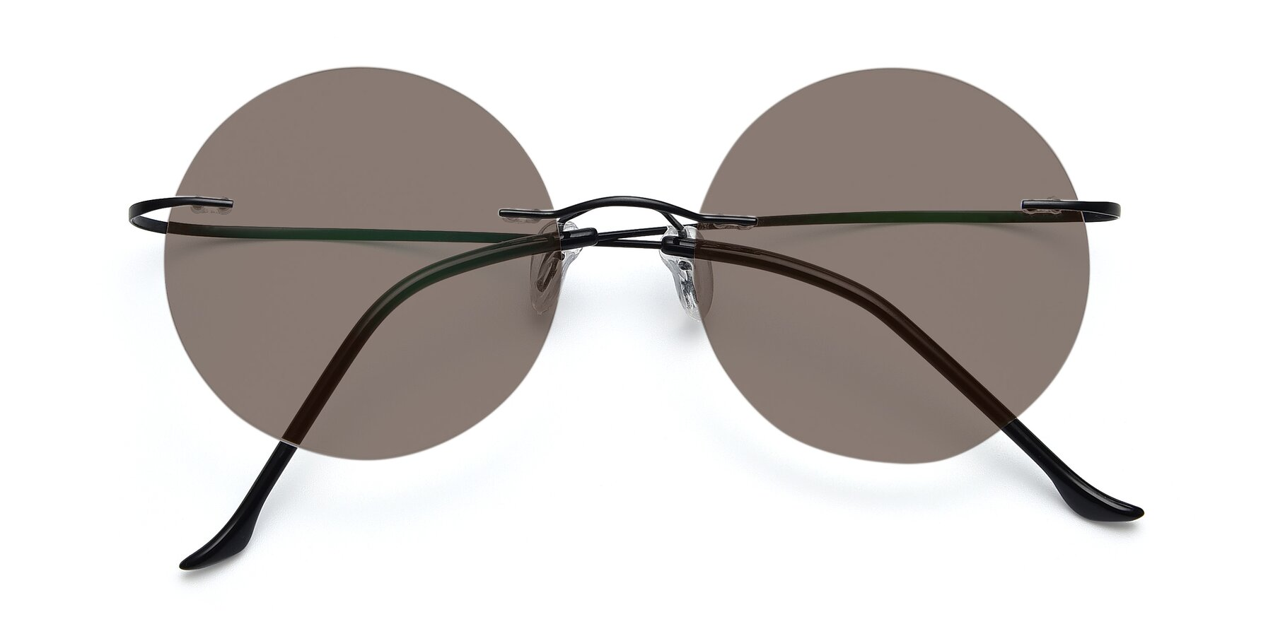 Folded Front of Artist in Black with Medium Brown Tinted Lenses