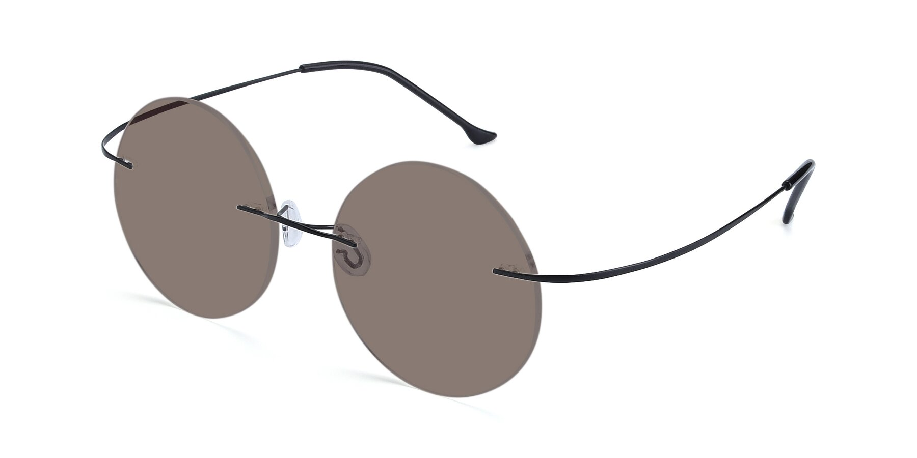 Angle of Artist in Black with Medium Brown Tinted Lenses