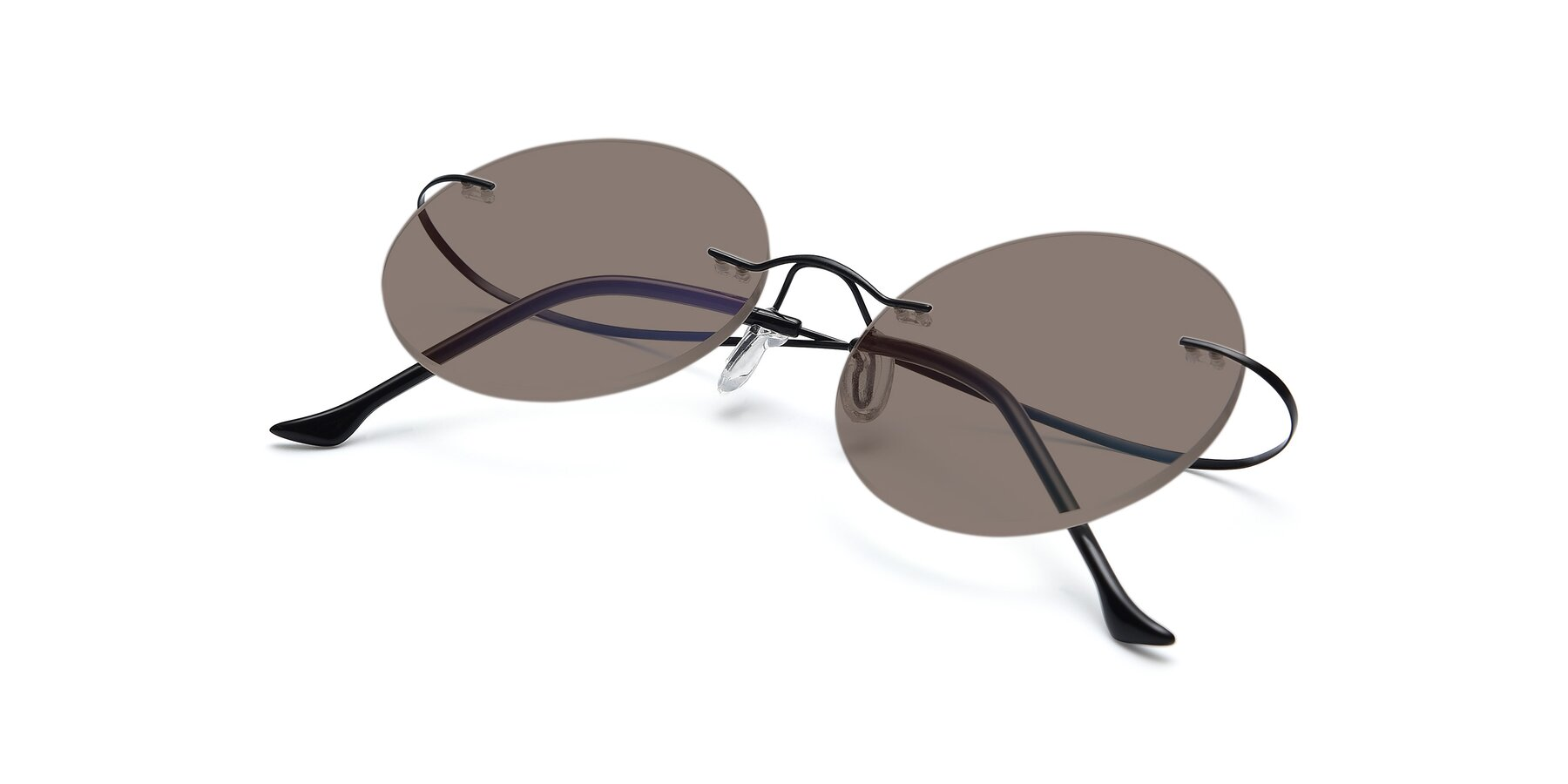 View of Artist in Black with Medium Brown Tinted Lenses