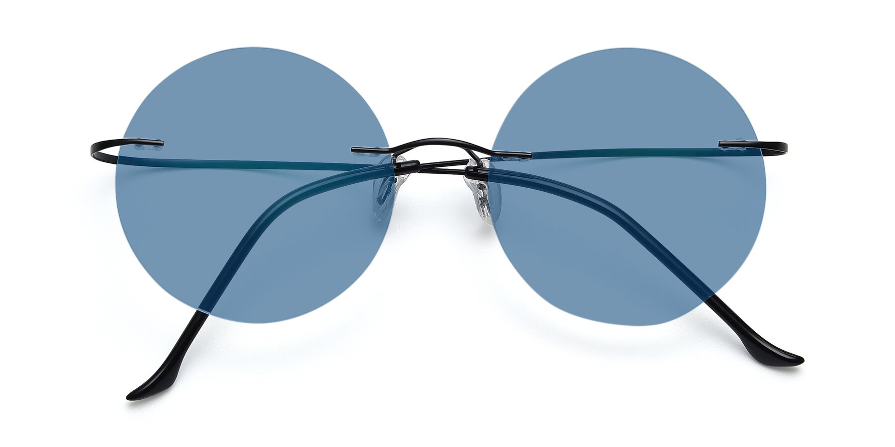 Folded Front of Artist in Black with Medium Blue Tinted Lenses