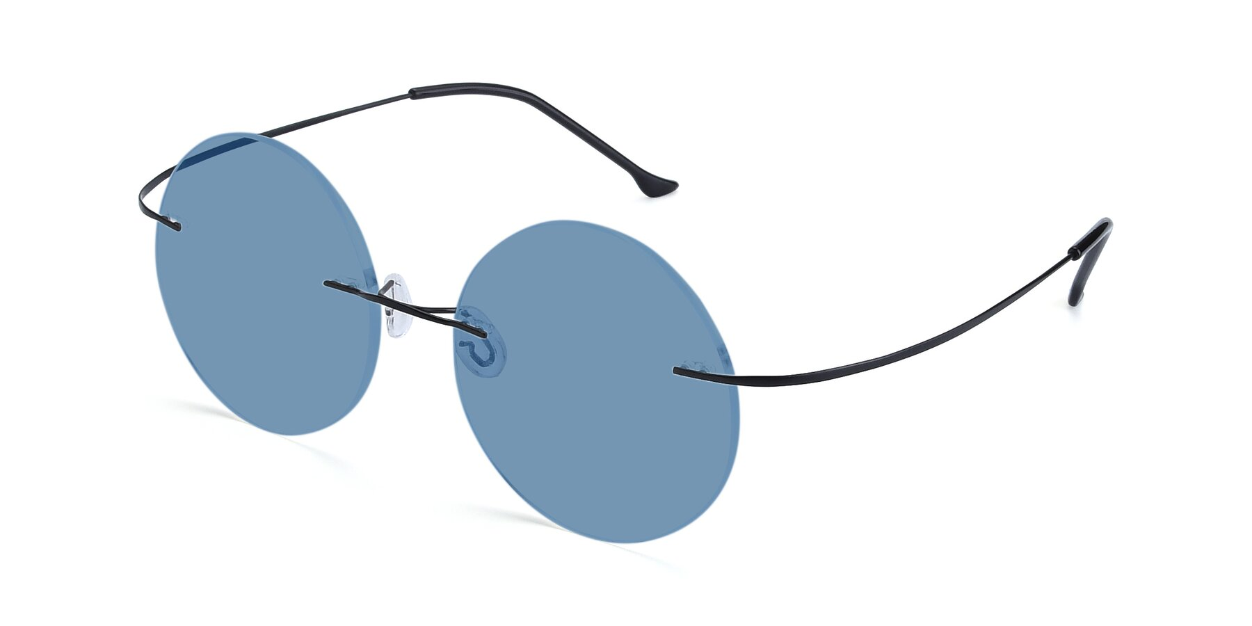 Angle of Artist in Black with Medium Blue Tinted Lenses