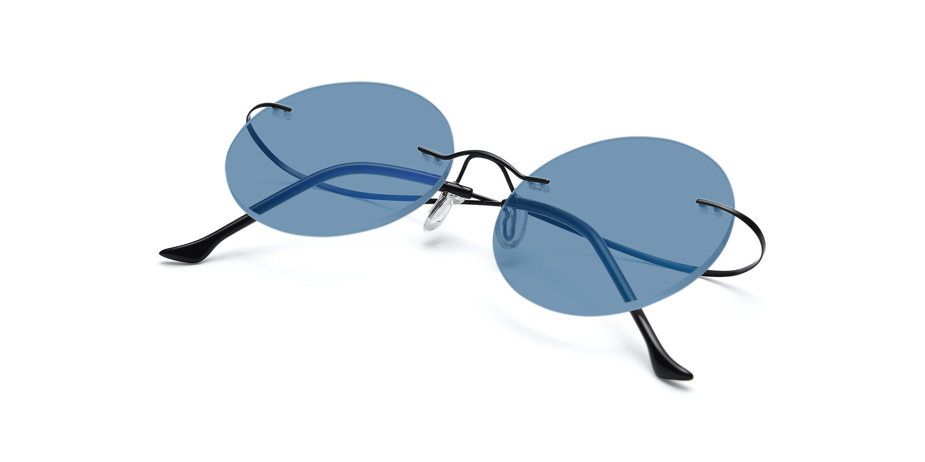 View of Artist in Black with Medium Blue Tinted Lenses