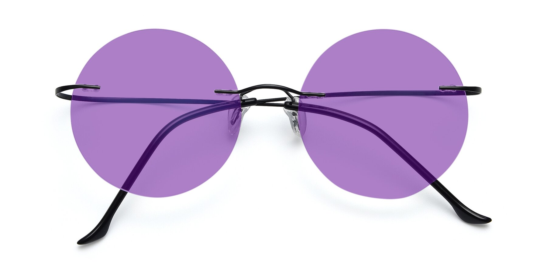 Folded Front of Artist in Black with Medium Purple Tinted Lenses