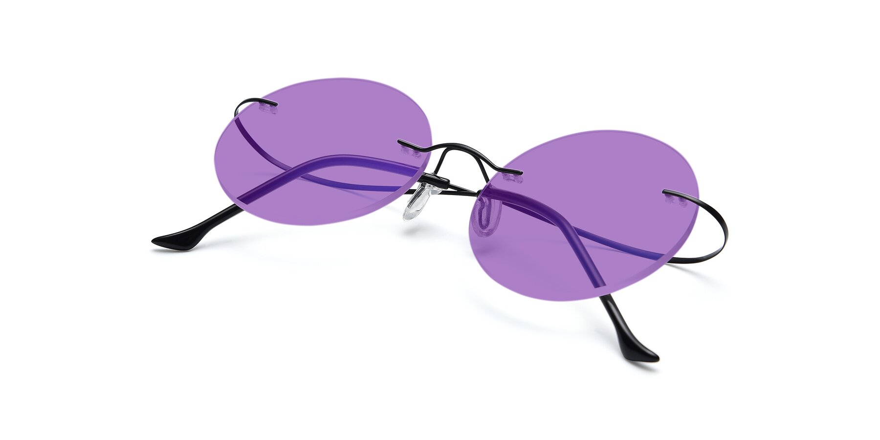 View of Artist in Black with Medium Purple Tinted Lenses