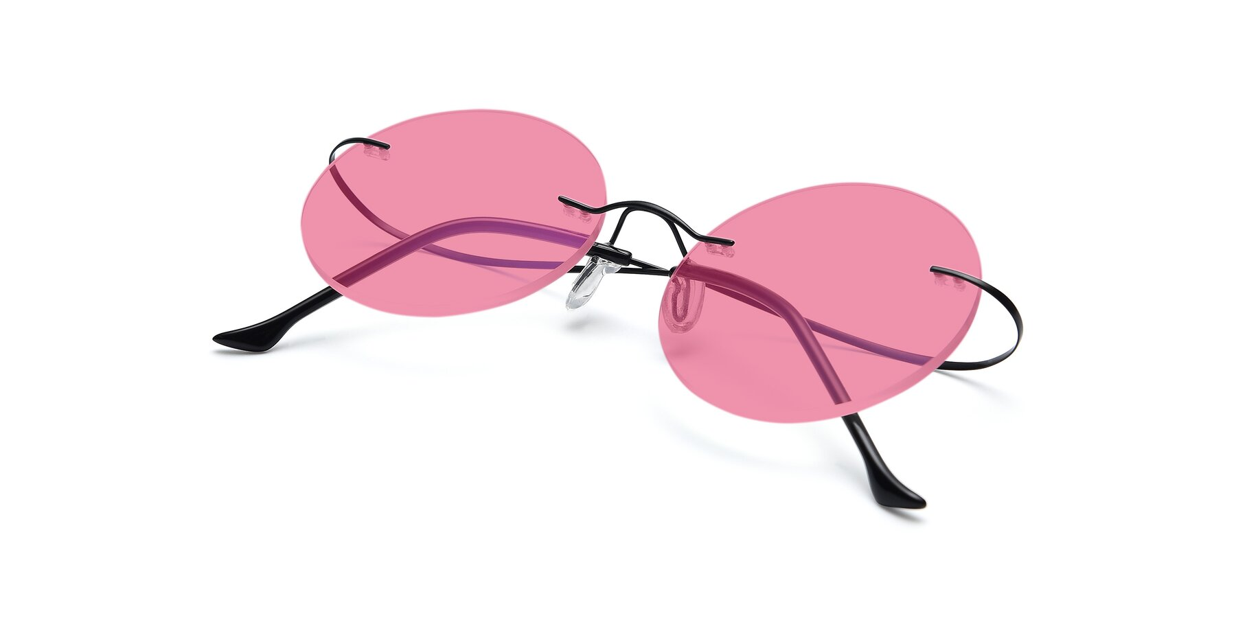 View of Artist in Black with Pink Tinted Lenses
