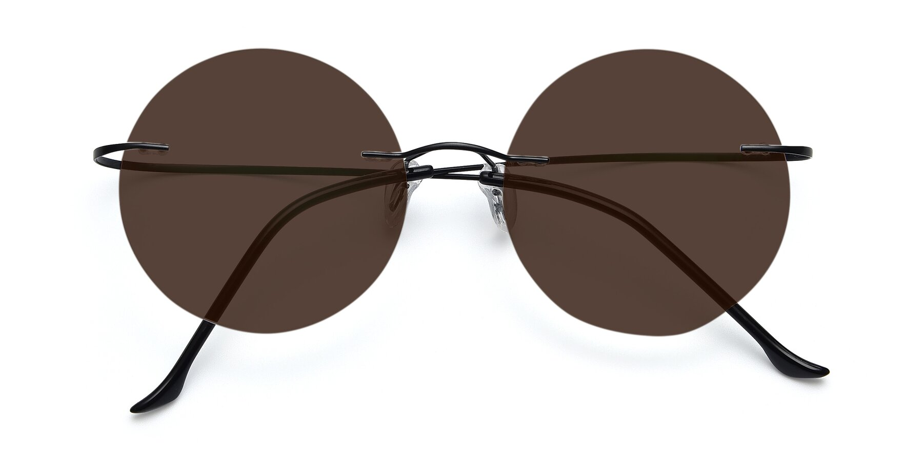 Folded Front of Artist in Black with Brown Tinted Lenses