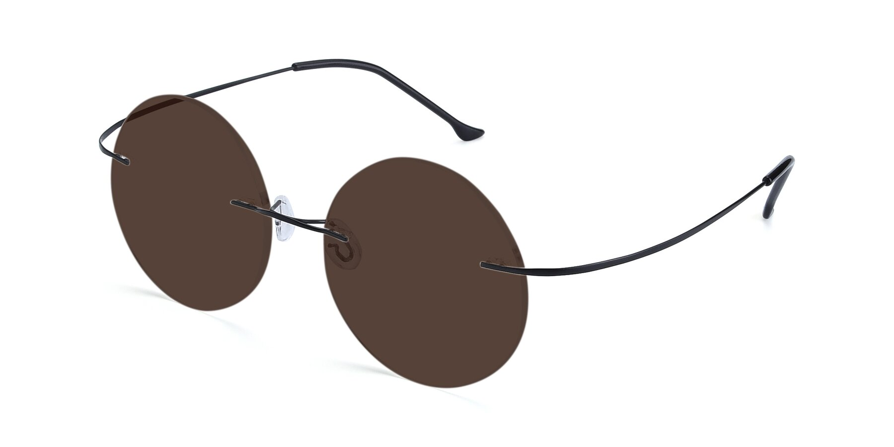 Angle of Artist in Black with Brown Tinted Lenses