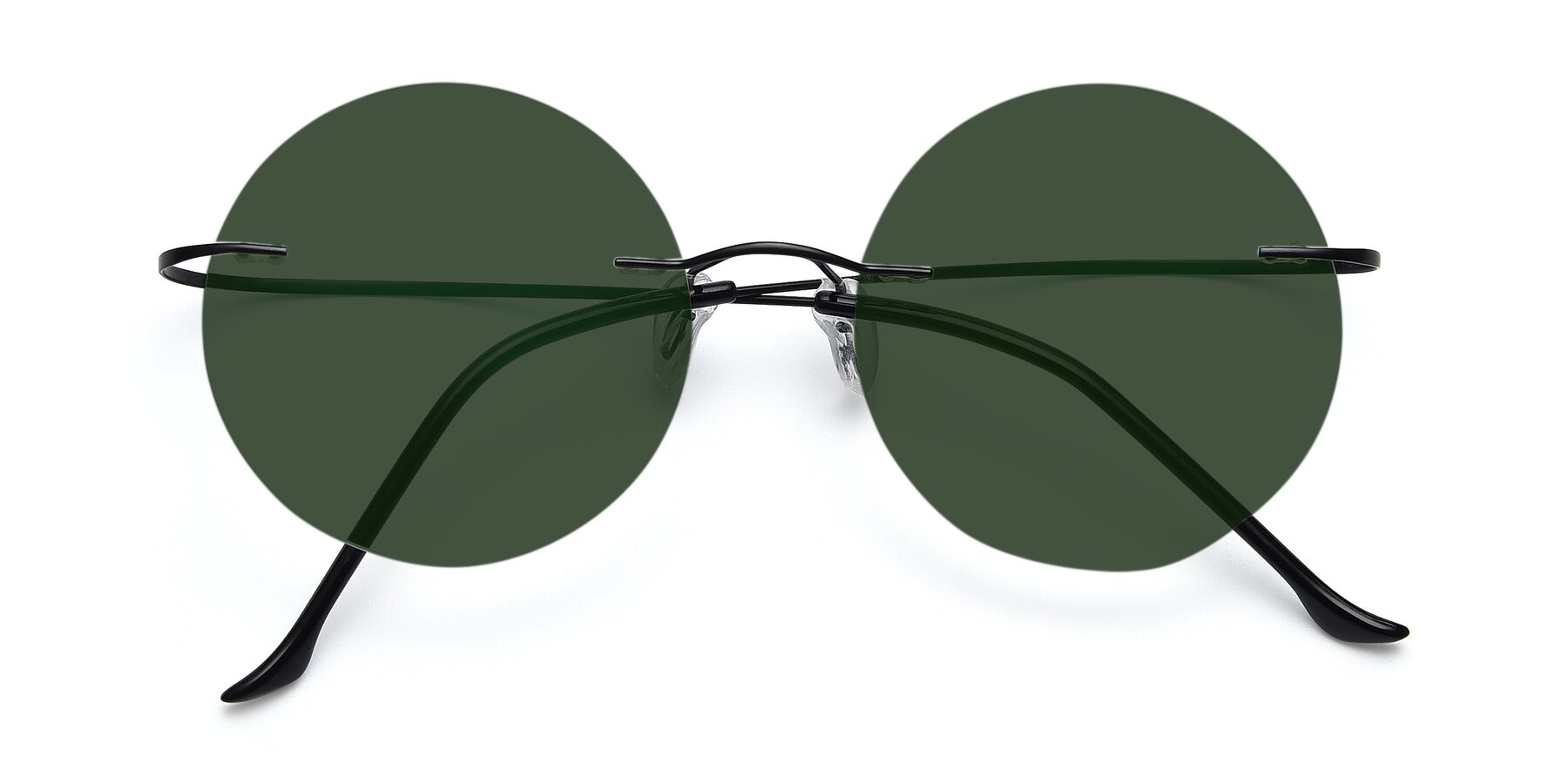 Folded Front of Artist in Black with Green Tinted Lenses