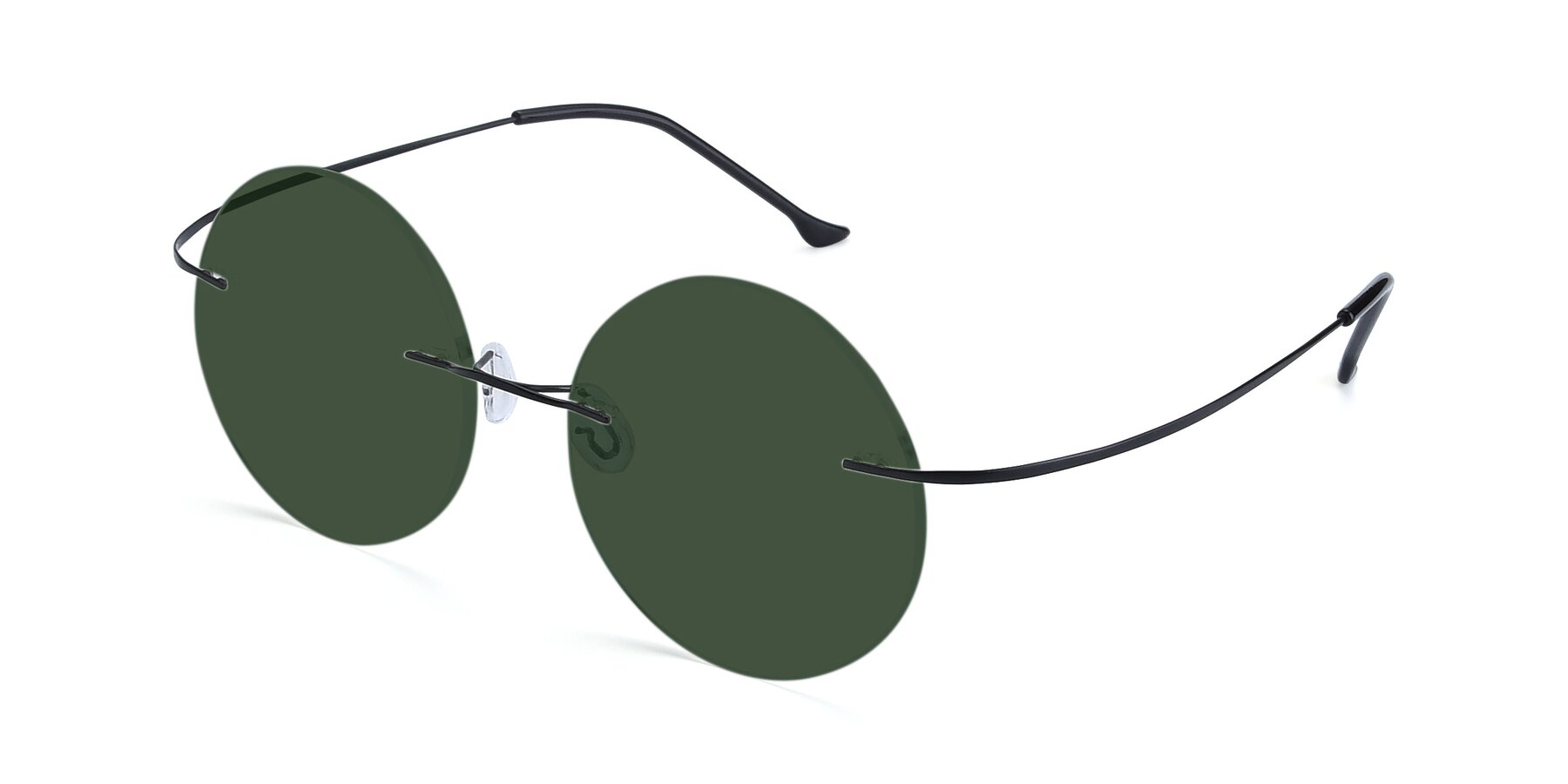 Angle of Artist in Black with Green Tinted Lenses