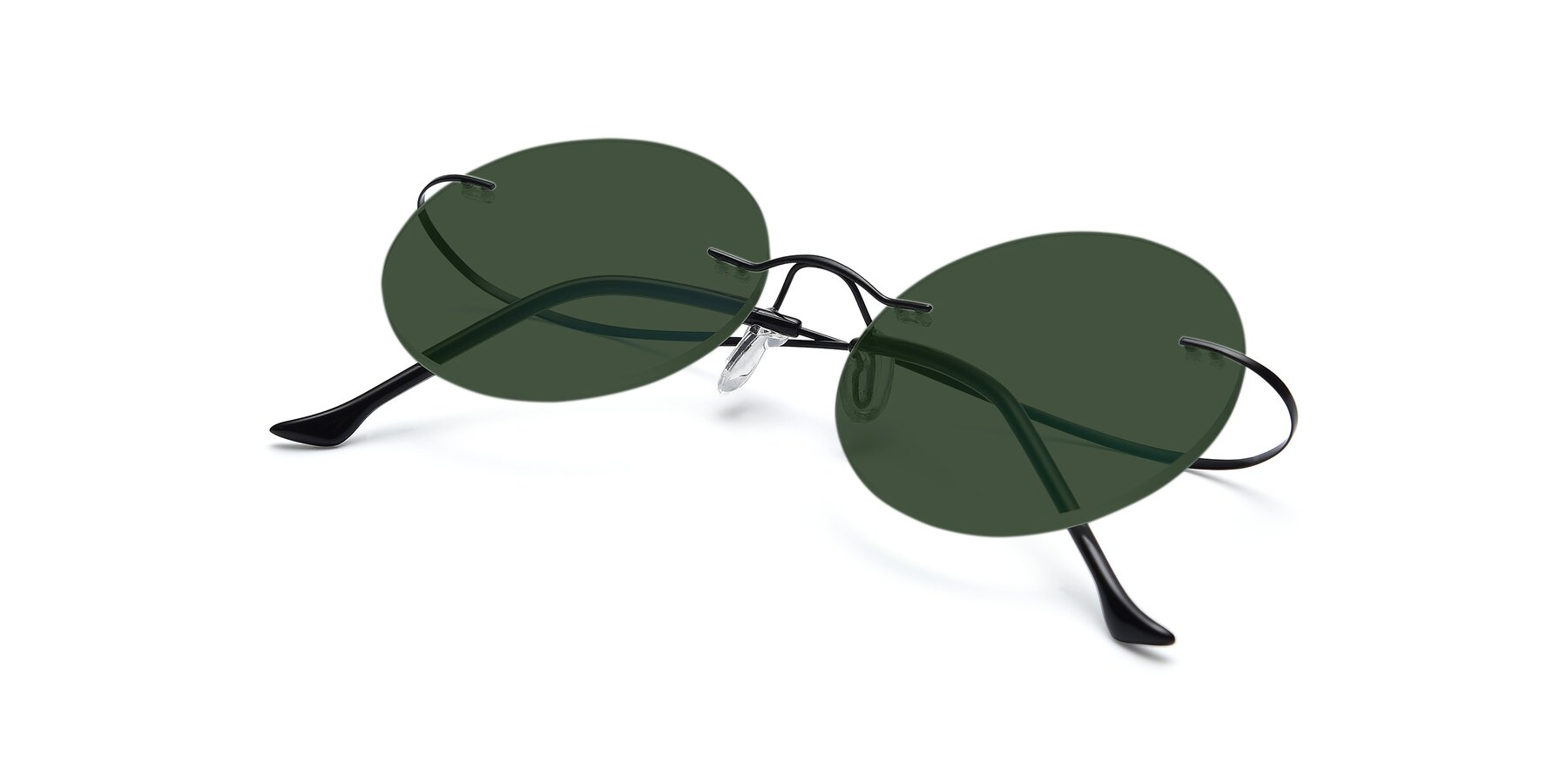 View of Artist in Black with Green Tinted Lenses