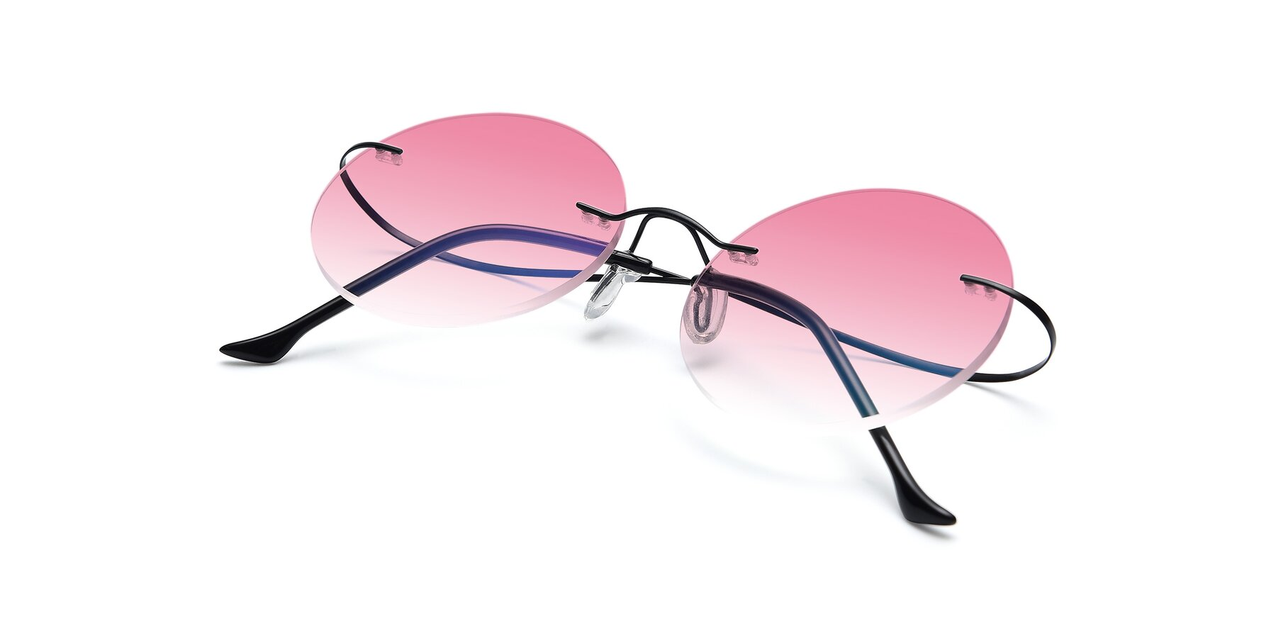 View of Artist in Black with Pink Gradient Lenses