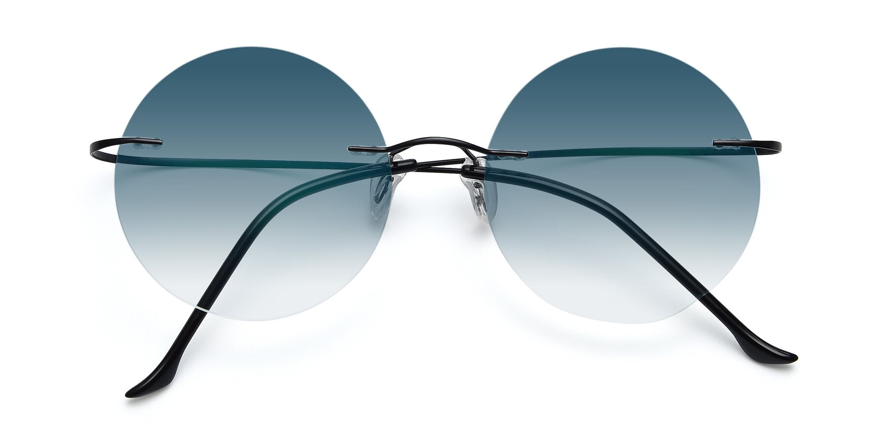 Folded Front of Artist in Black with Blue Gradient Lenses