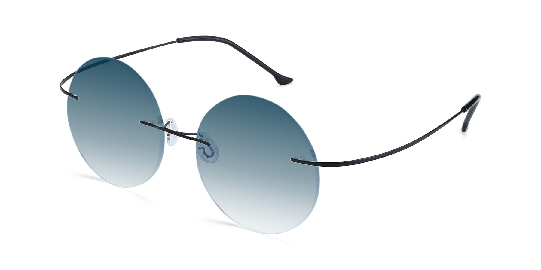Angle of Artist in Black with Blue Gradient Lenses